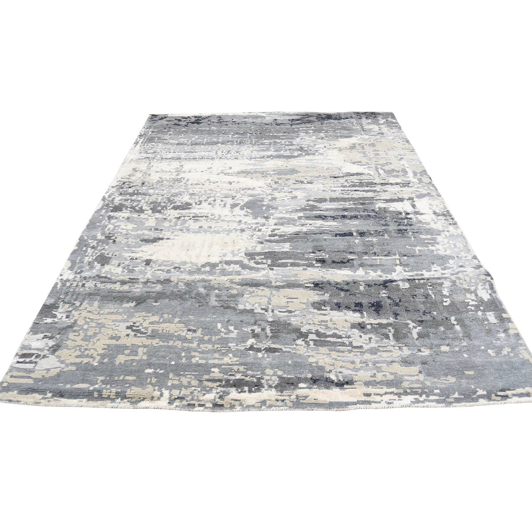 One-of-a-Kind Gurganus Abstract Oriental Hand-Knotted Silk Black/White Area Rug