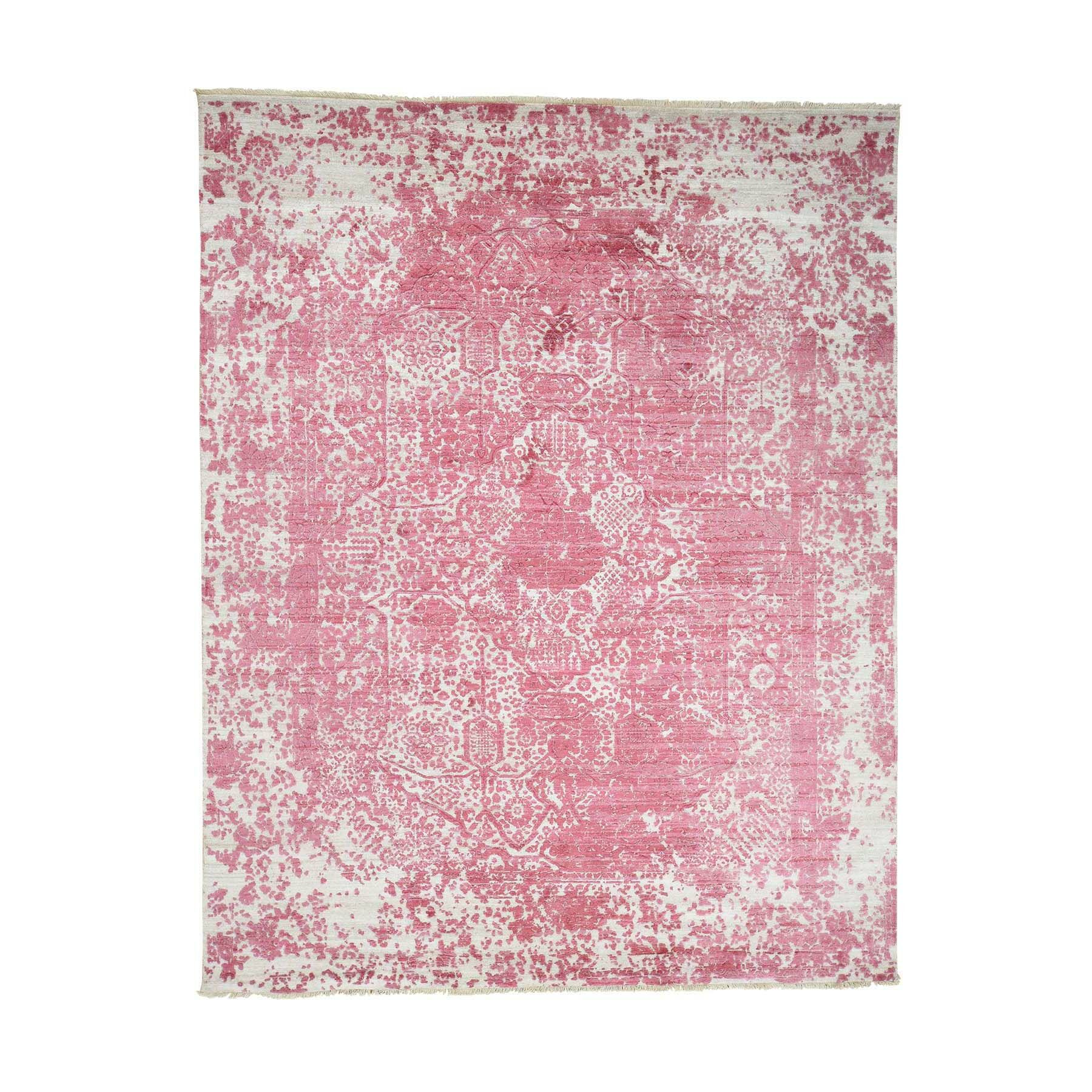 One-of-a-Kind Guidi Broken Persian and Pure Oriental Hand-Knotted Silk Pink Area Rug