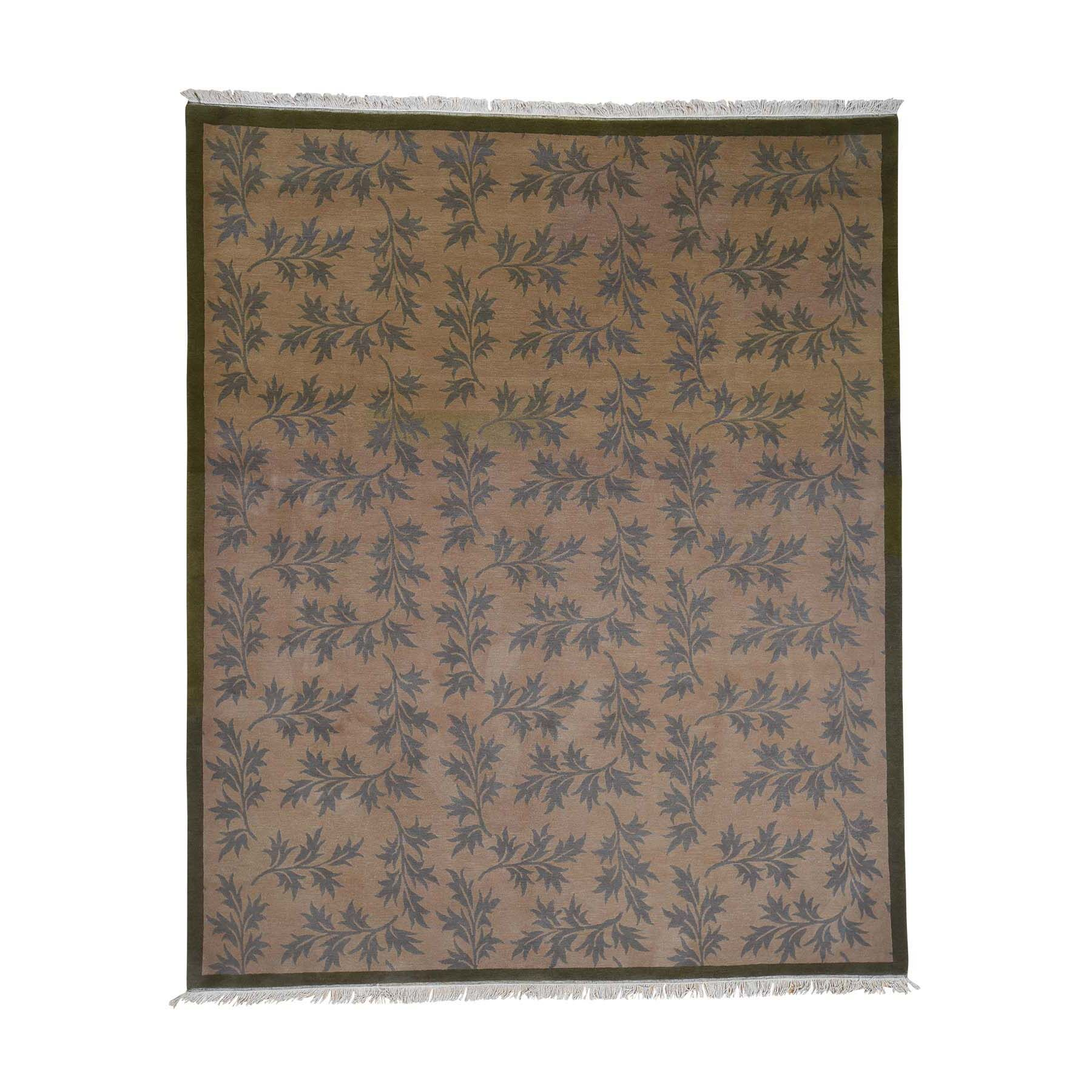 One-of-a-Kind Pennyfield Modern Nepali Leaf Hand-Knotted Brown Area Rug