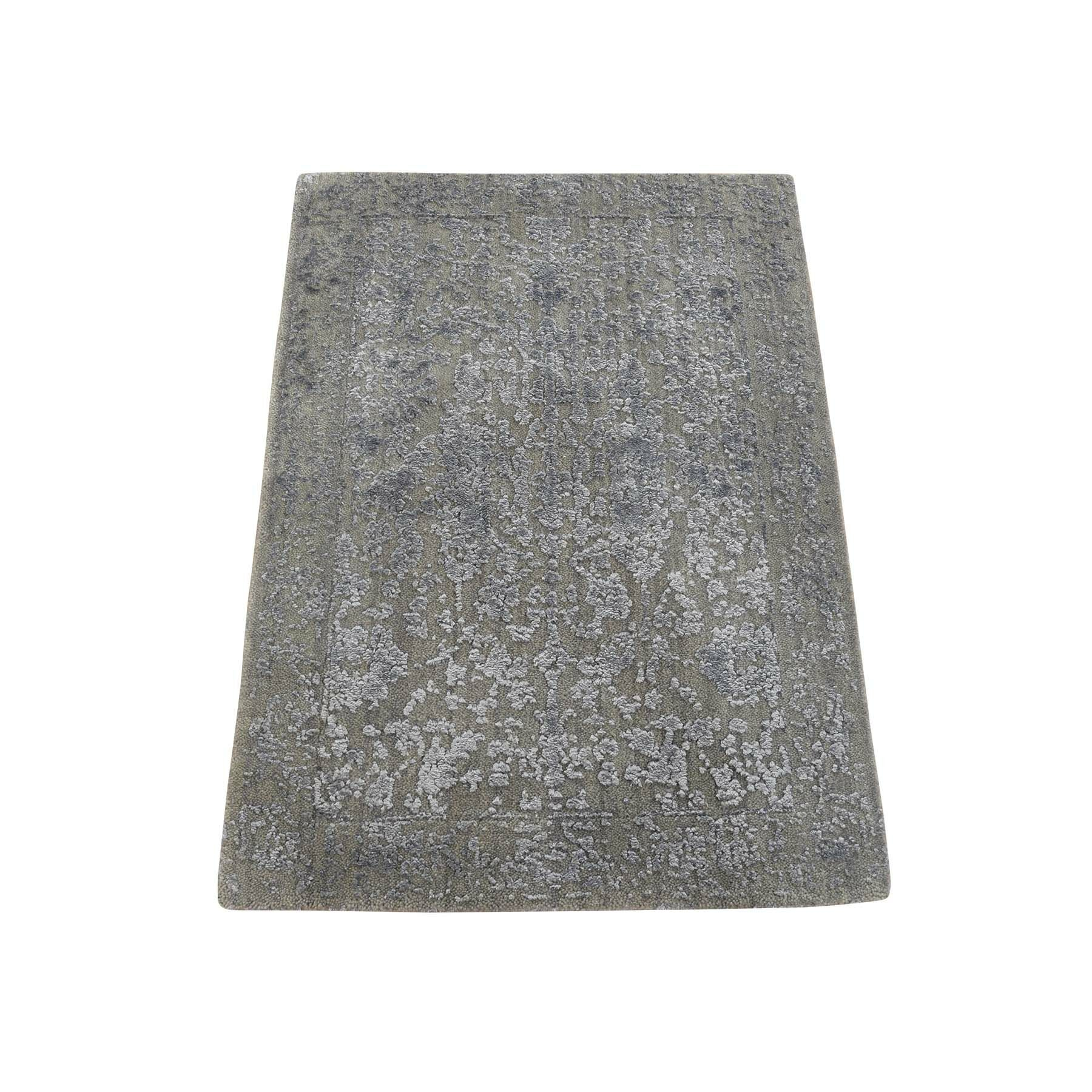 One-of-a-Kind Porcaro Abstract Oriental Hand-Knotted Silk Gray Area Rug