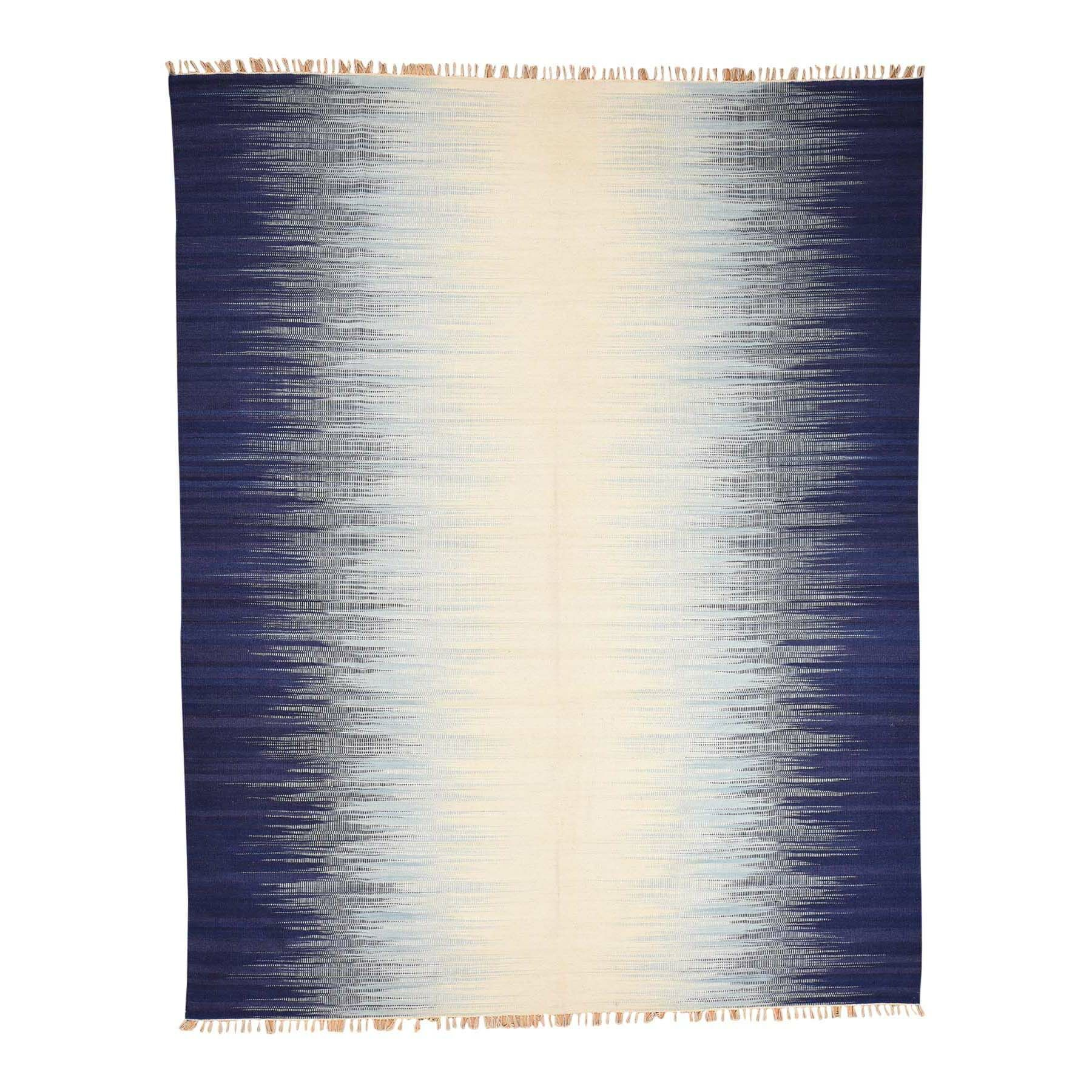 One-of-a-Kind Drews Flat Weave Ocean Burst Kilim Oriental Hand-Knotted Blue Area Rug