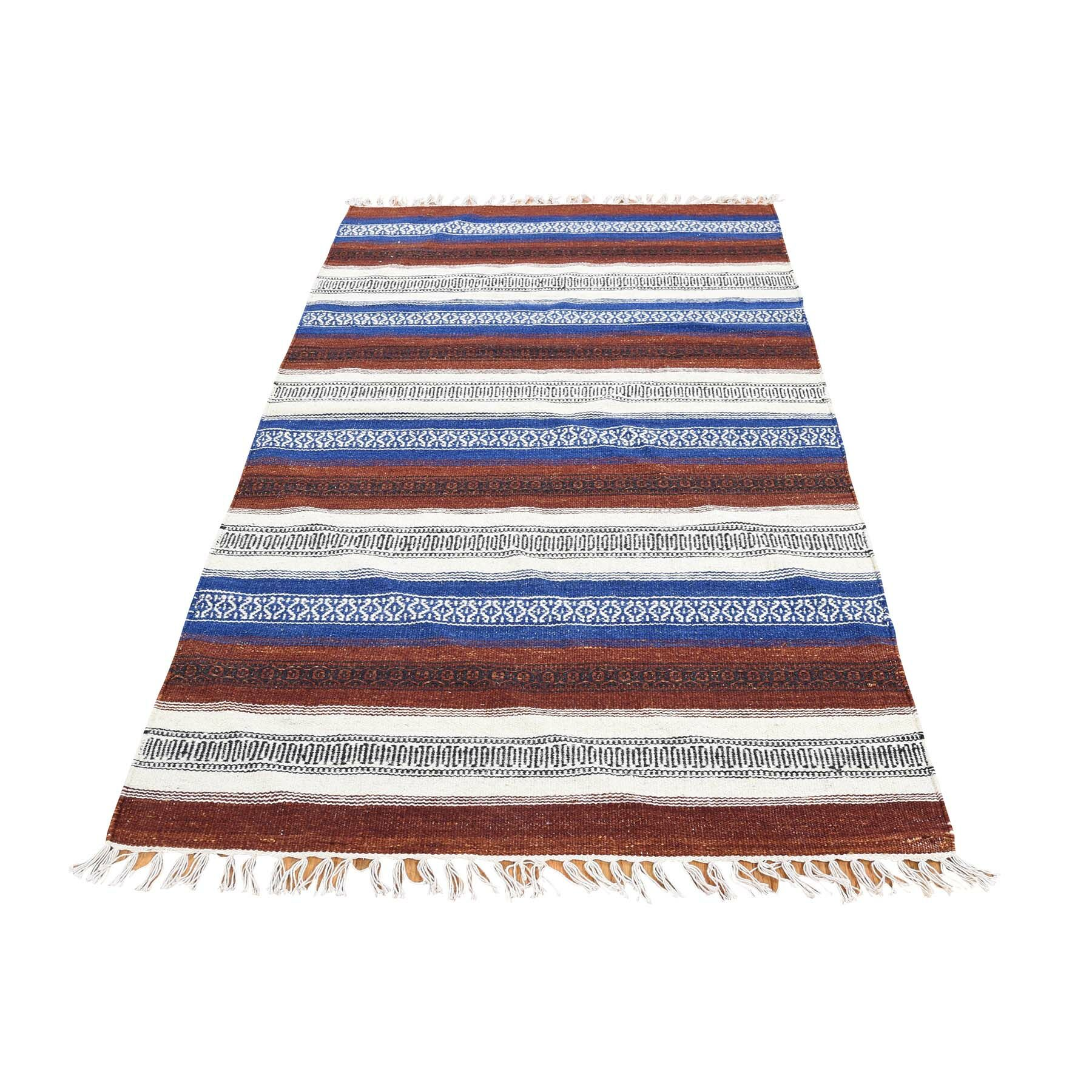 One-of-a-Kind Espalda Reversible Kilim Oriental Hand-Knotted Brown Area Rug