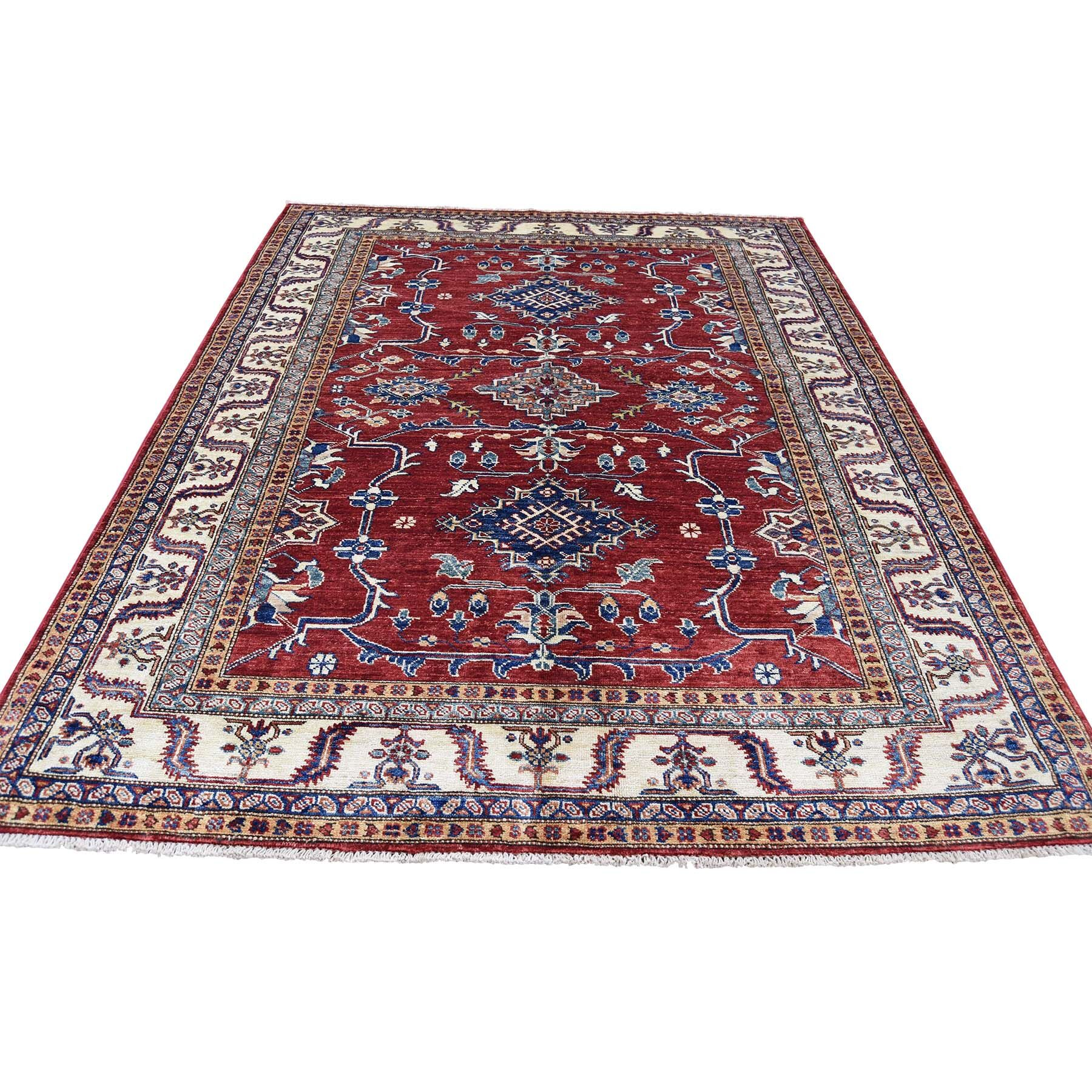 One-of-a-Kind Espada Super Geometric Oriental Hand-Knotted Red Area Rug