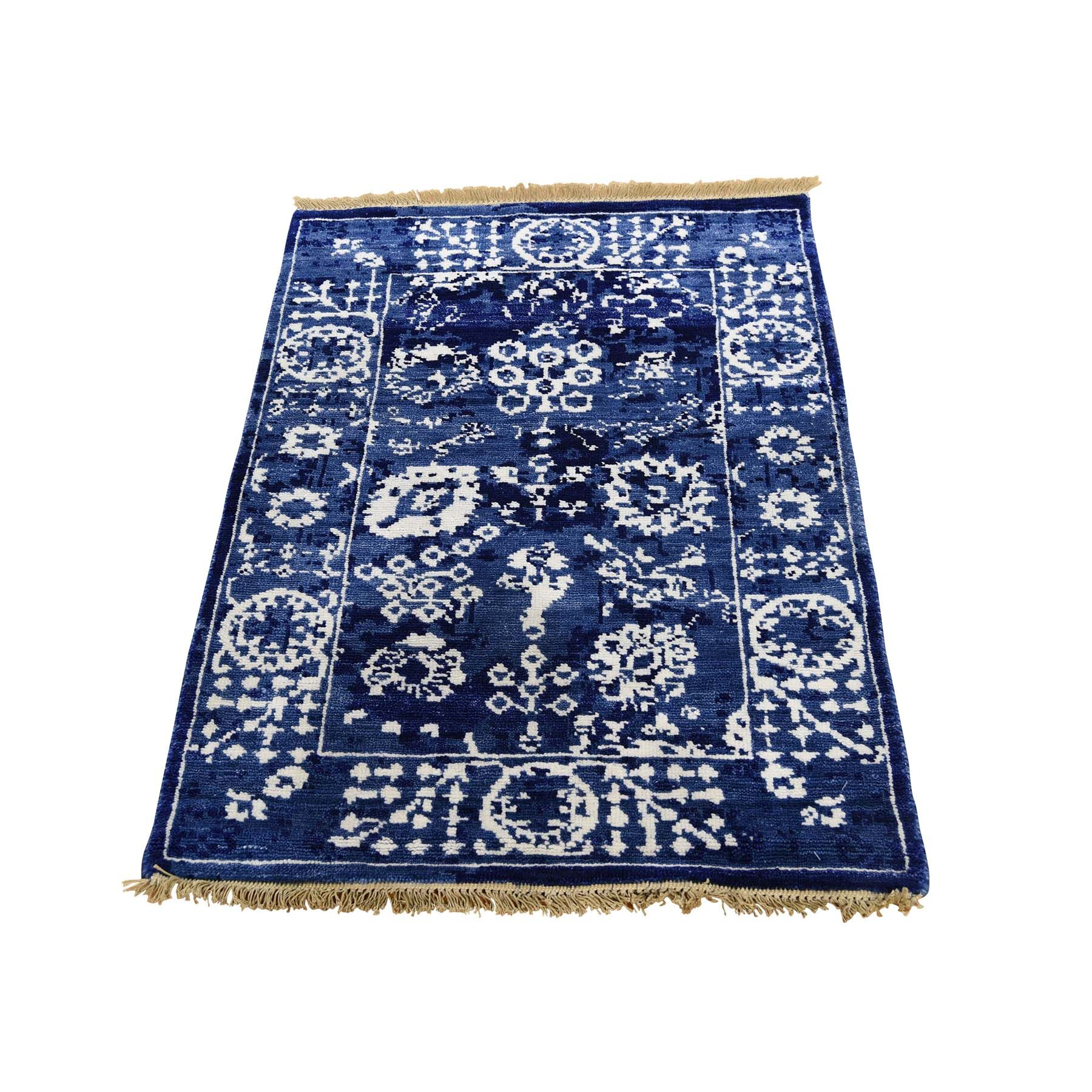 One-of-a-Kind Xenos Tabriz Oriental Hand-Knotted Silk Blue Area Rug