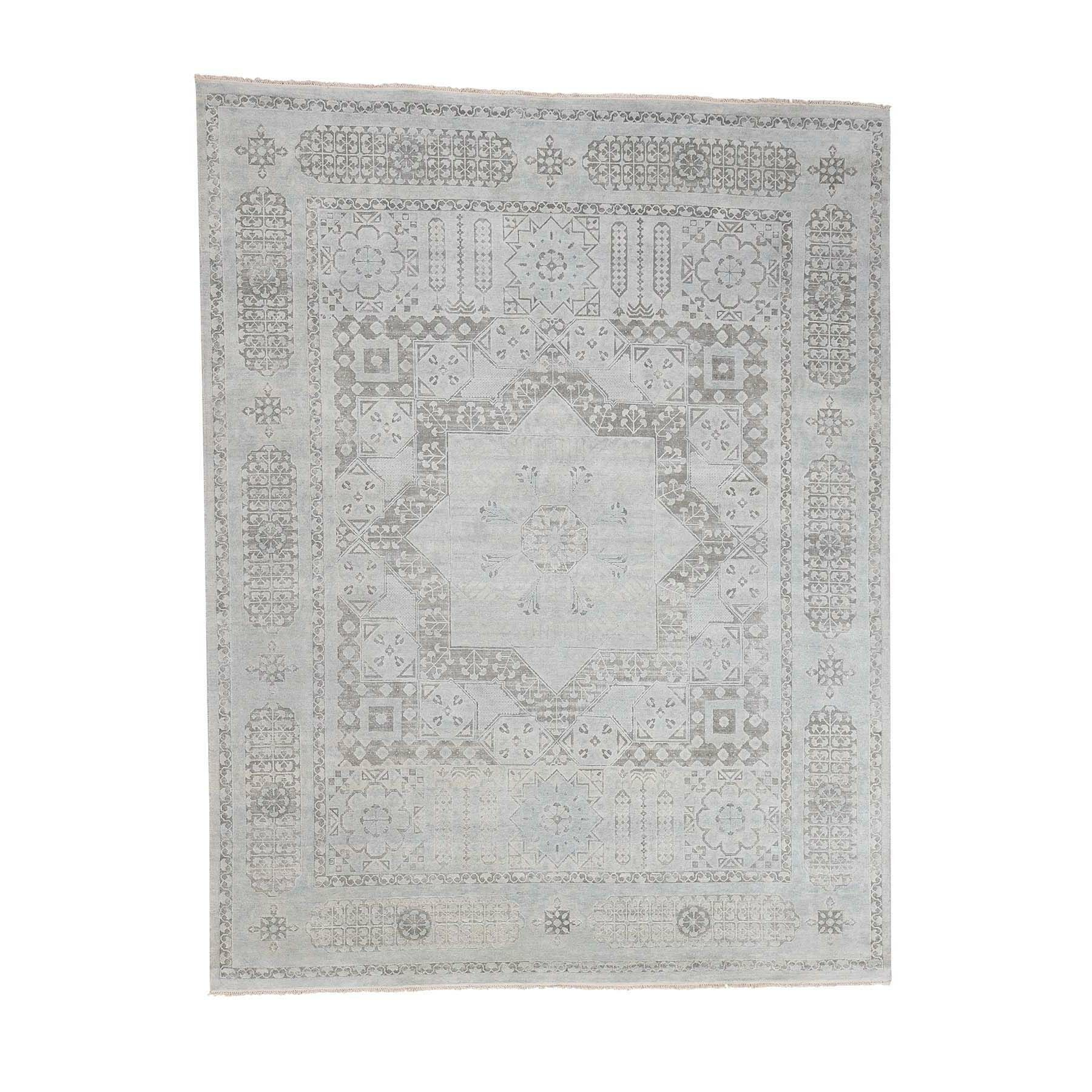 One-of-a-Kind Ensor Pure with Oxidized Oriental Hand-Knotted Silk Blue Area Rug