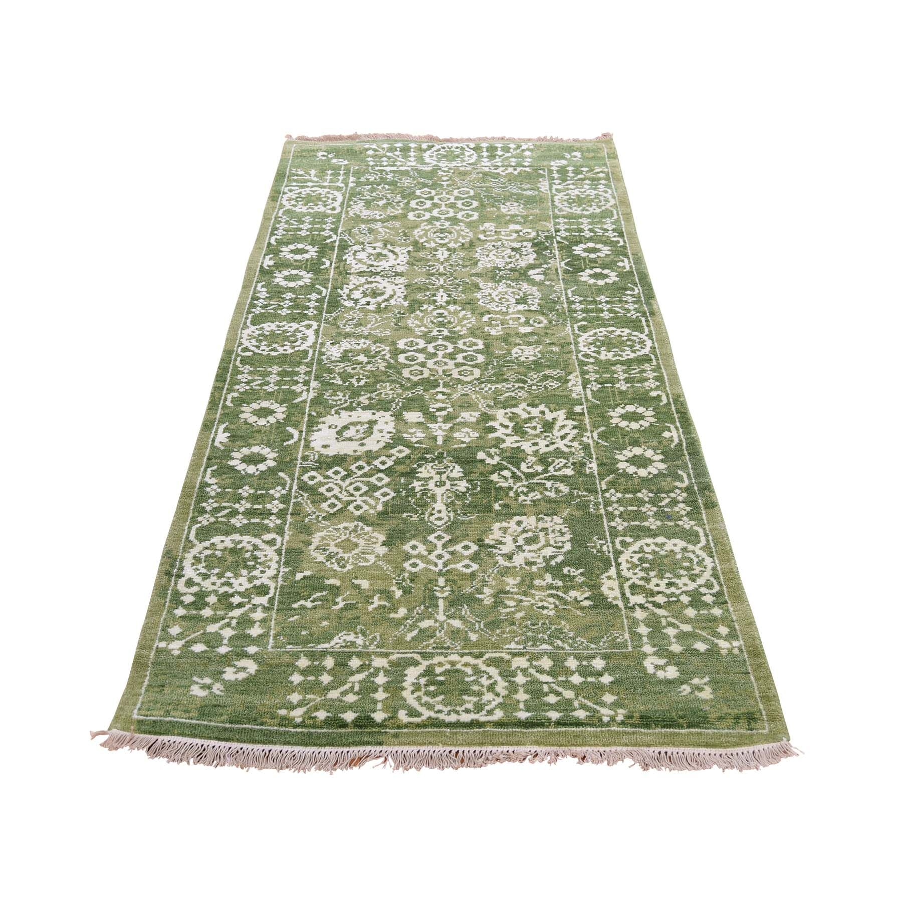 One-of-a-Kind Ace Tabriz Oriental Hand-Knotted Silk Green Area Rug