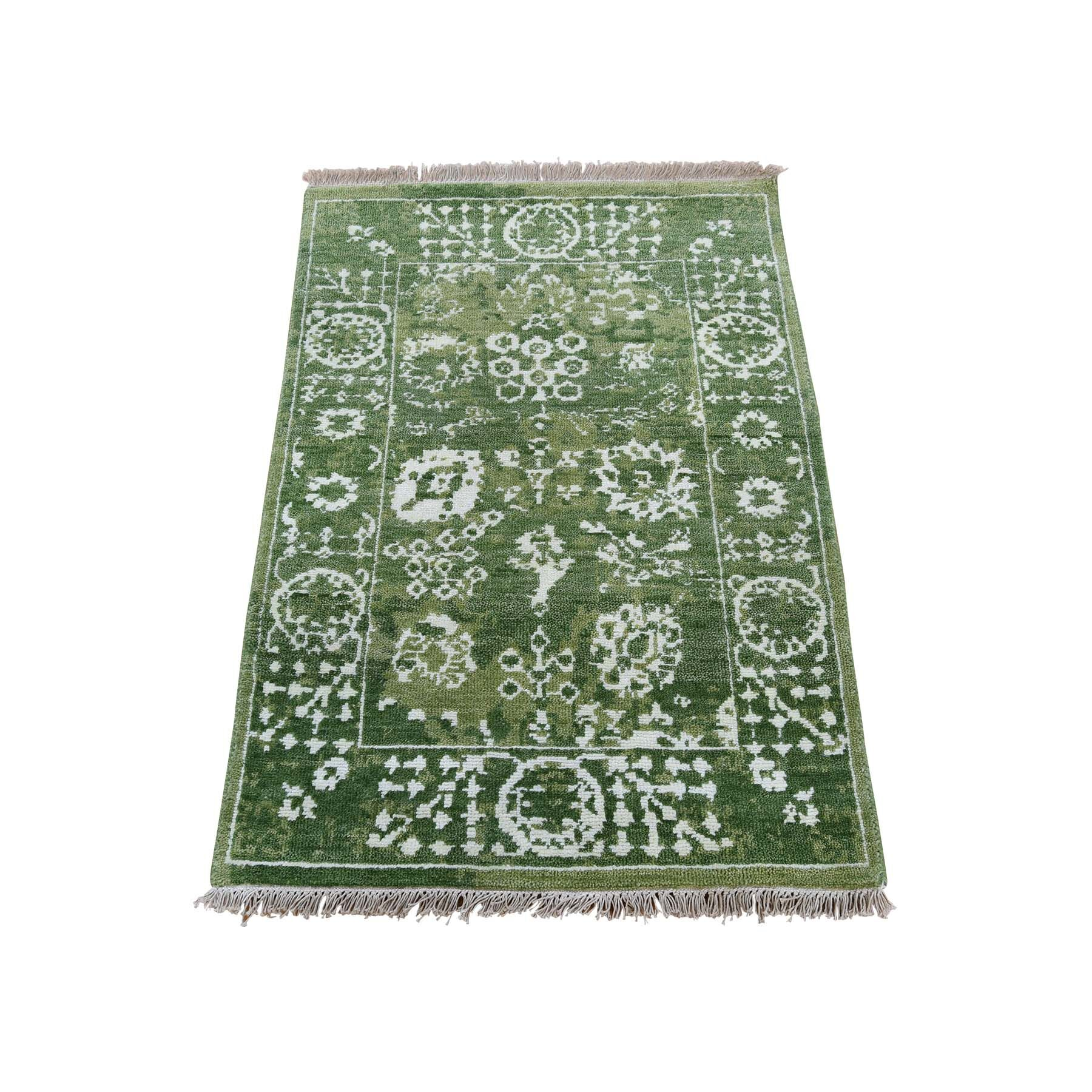 One-of-a-Kind Azriel Tabriz Oriental Hand-Knotted Silk Green Area Rug