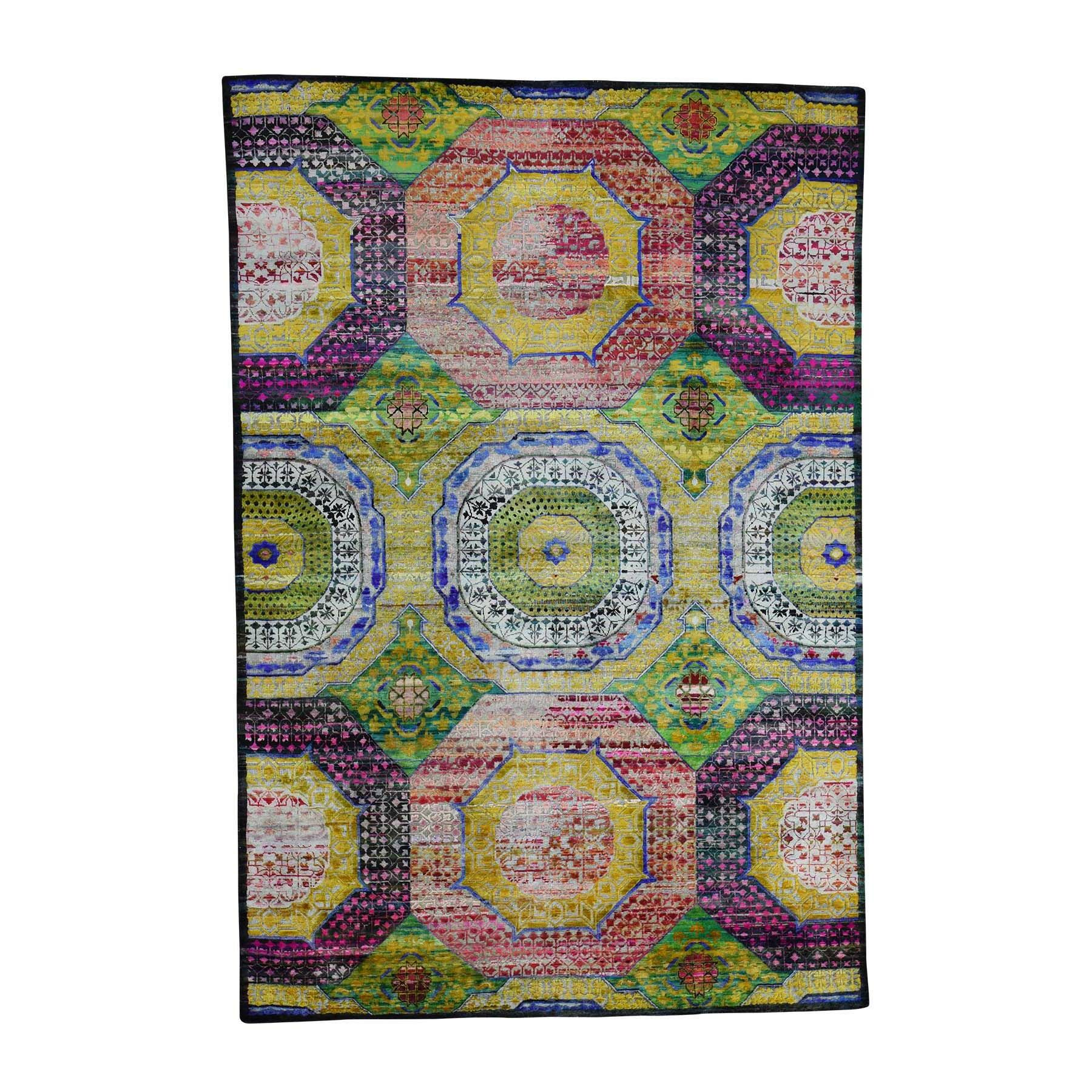 One-of-a-Kind Ensor Sari with Oxidized Oriental Hand-Knotted Silk Yellow Area Rug