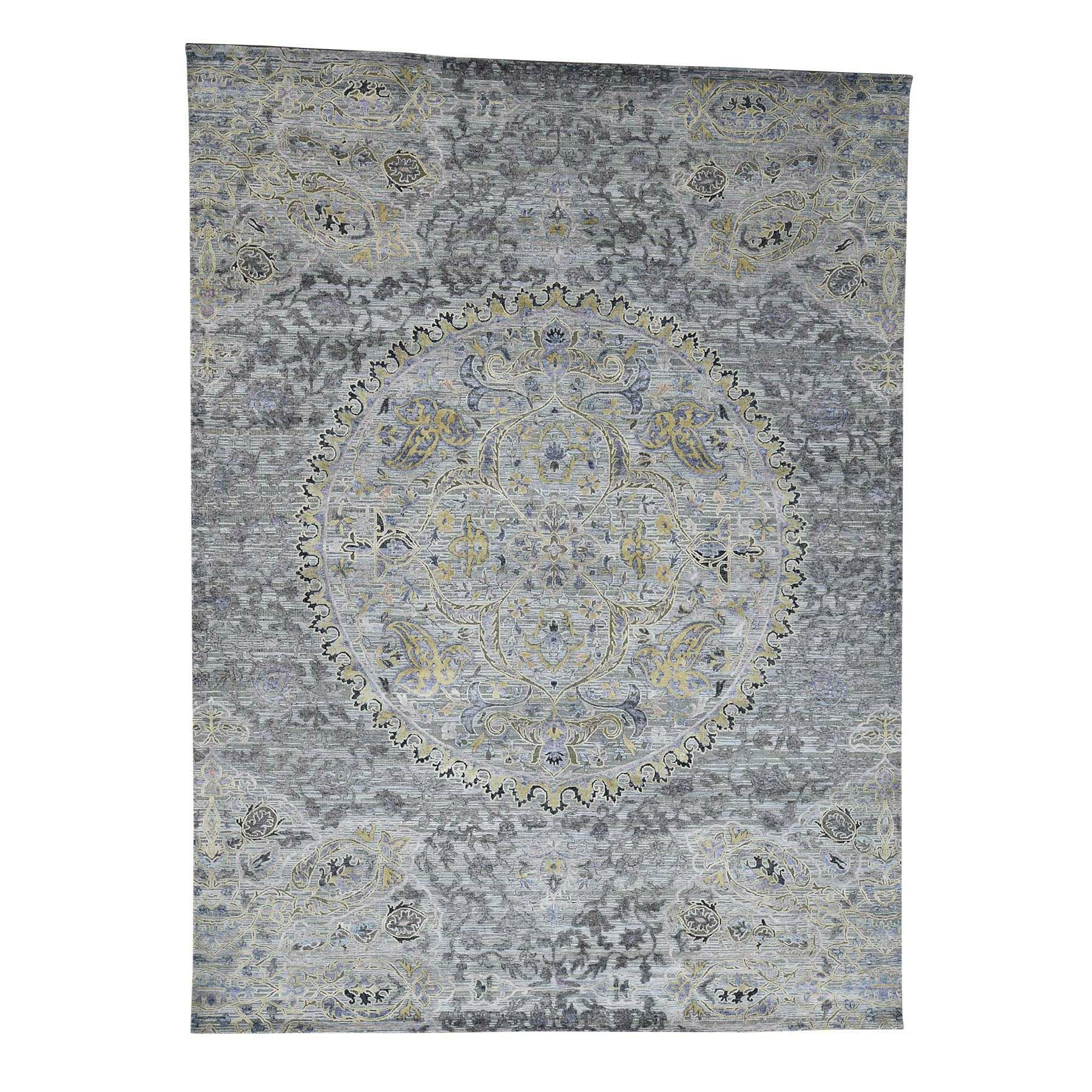 One-of-a-Kind Niko The Maharaja with Oxidized Oriental Hand-Knotted Silk Gray Area Rug