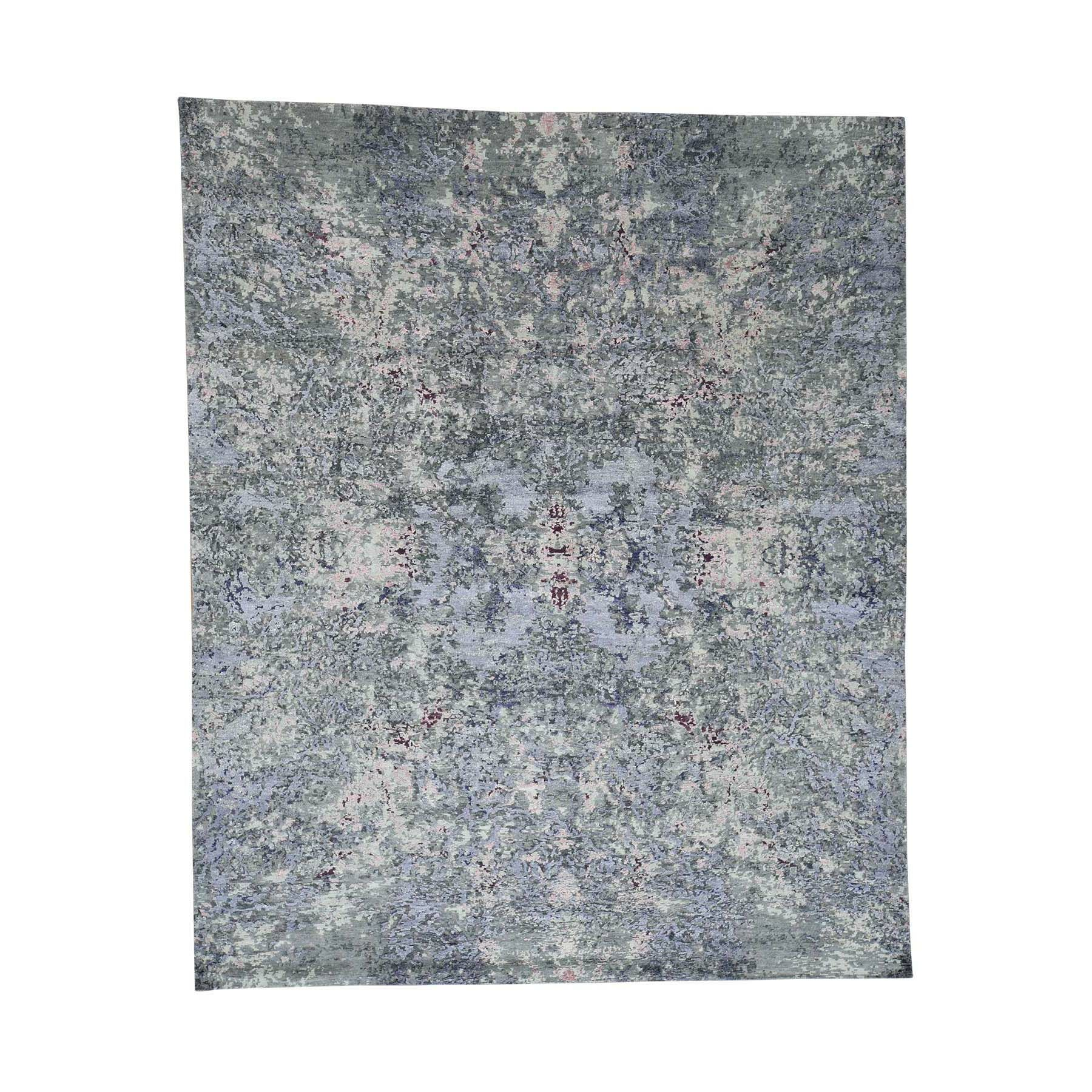 One-of-a-Kind Exum Abstract Oriental Hand-Knotted Silk Gray Area Rug