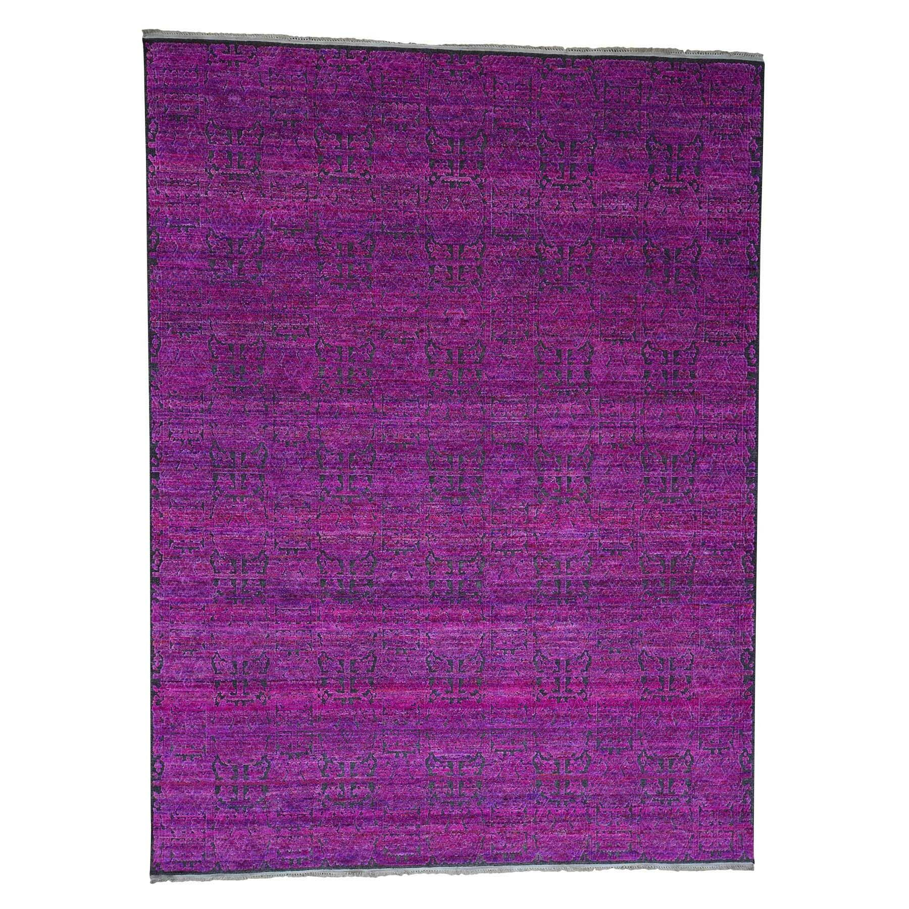 One-of-a-Kind Ewald Fuchsia Sari with Oxidized Oriental Hand-Knotted Silk Pink Area Rug