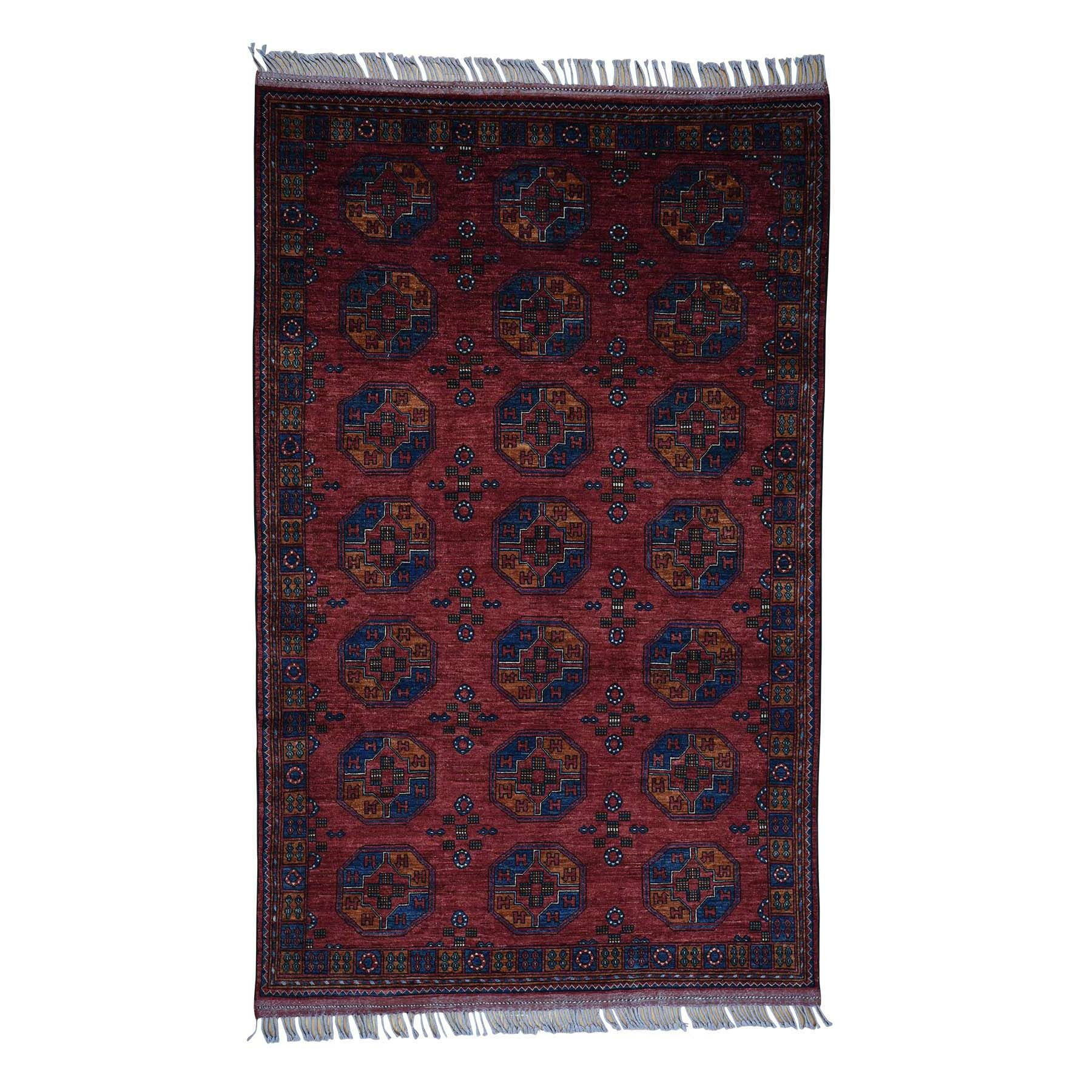 One-of-a-Kind Fiala Afghan Ersari Elephant Feet Oriental Hand-Knotted Red Area Rug