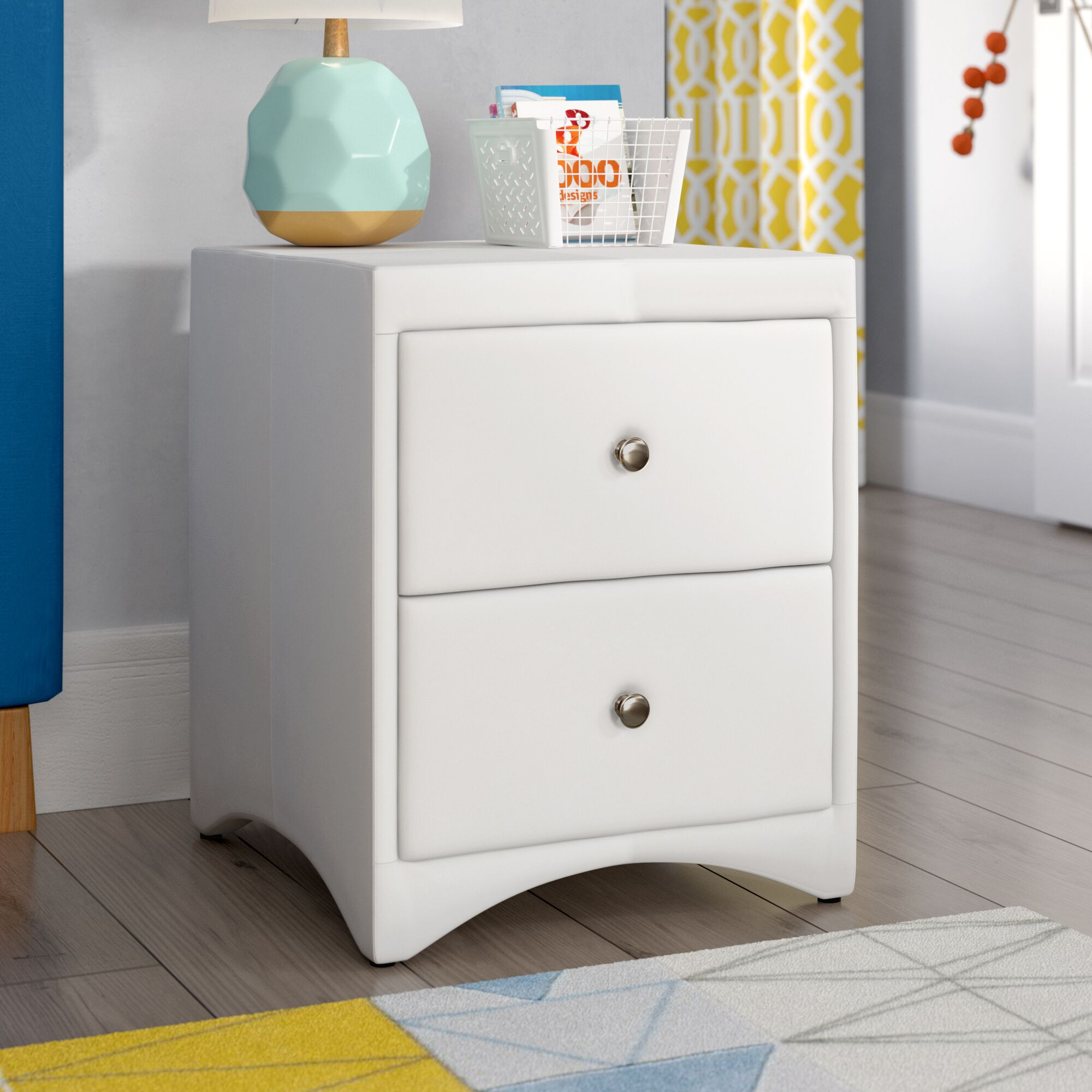 Galyean 2 Drawer Nightstand Color: White
