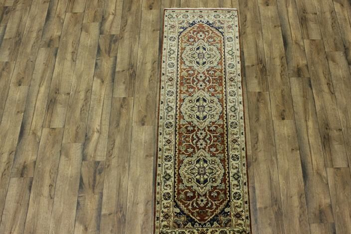 One-of-a-Kind Purvis Oriental Hand-Knotted Wool Orange/Beige Area Rug