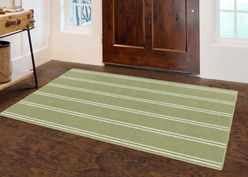 Roxana Traditional Vertical Striped Green Area Rug Rug Size: Rectangle 5' x 8'
