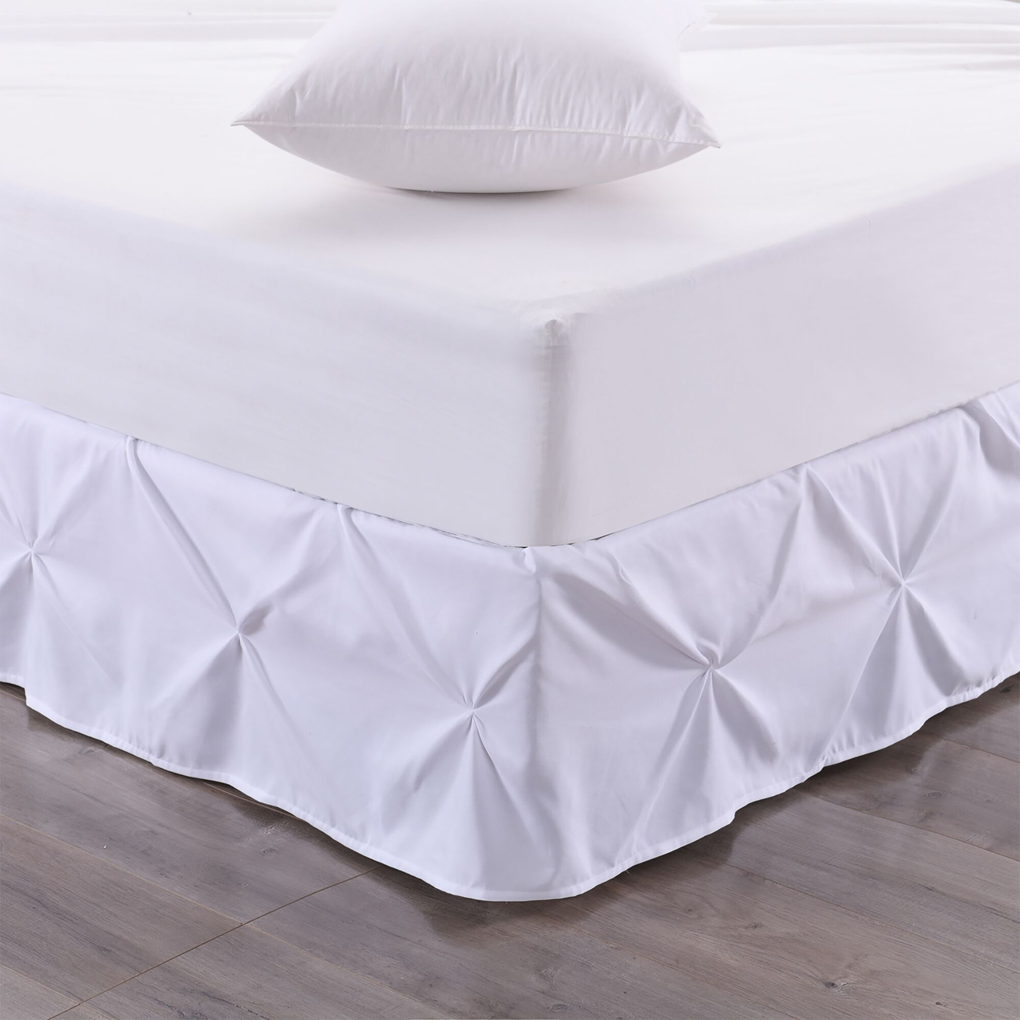 Taya Pintuck Ruffle Bed Skirt Color: White, Size: Queen