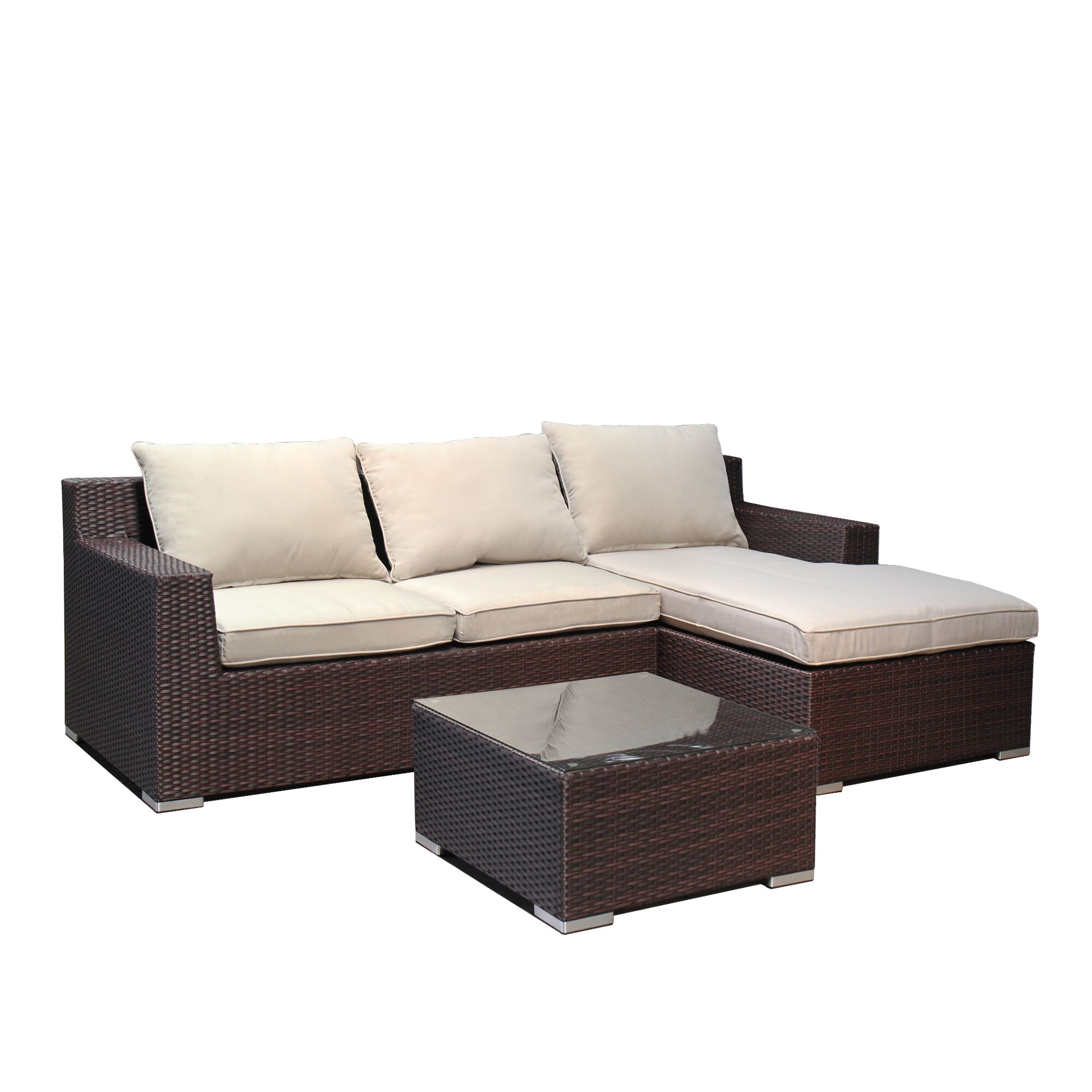 Teagan 5 Piece Rattan Sectional Set Frame Finish: Brown/Cream