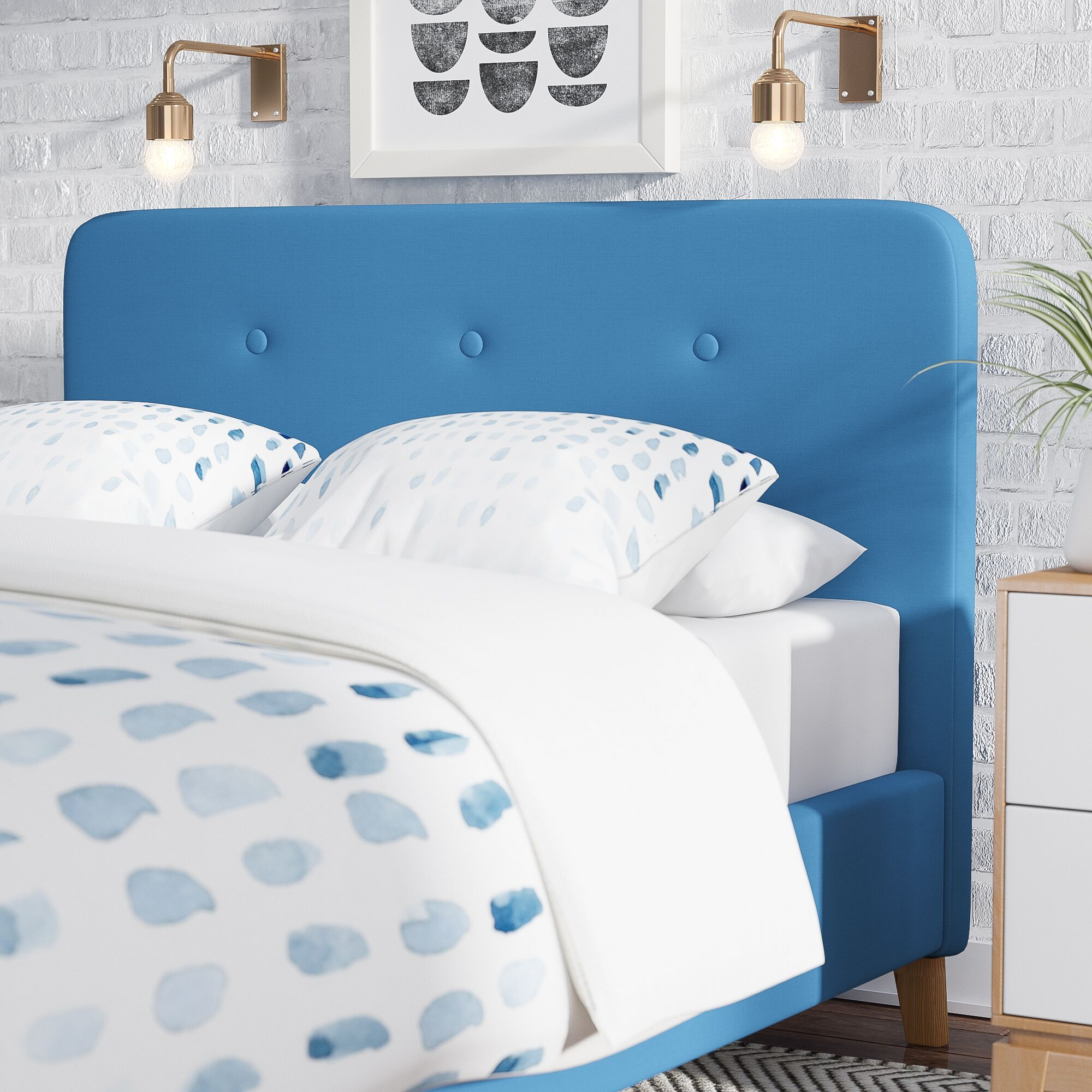 Delray Linen Upholstered Panel Headboard Upholstery: Blue, Size: Queen