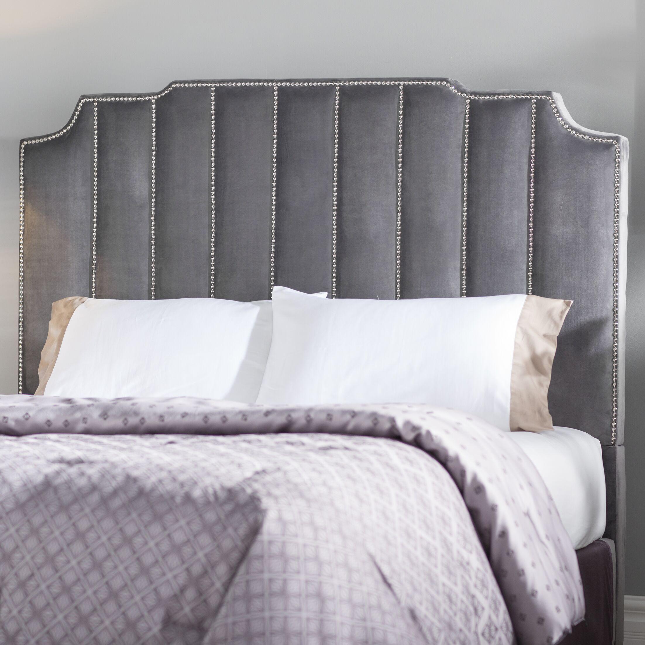 Elof Velvet Upholstered Panel Headboard Upholstery: Gray, Size: King