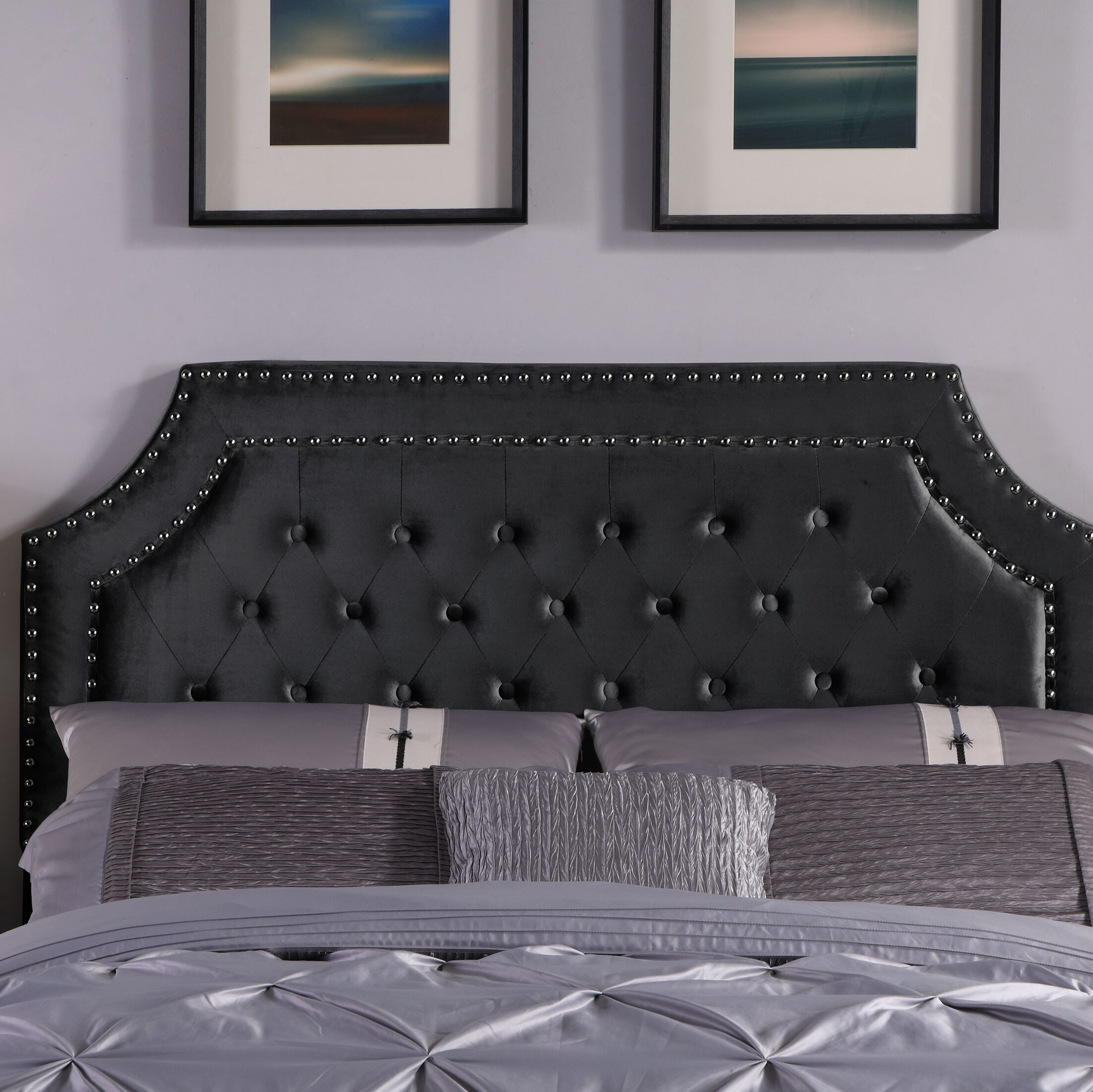 Deary Upholstered Panel Headboard Upholstery: Black, Size: Twin