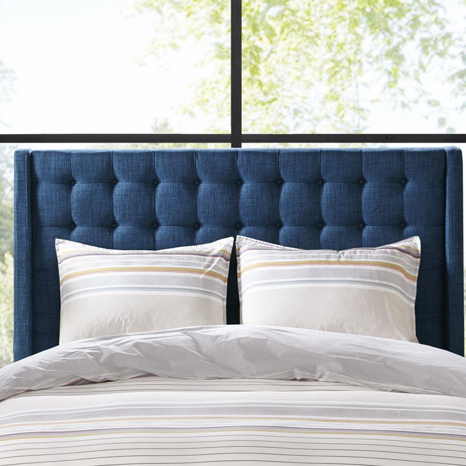 Belz Queen Upholstered Panel Headboard Color: Navy, Size: King