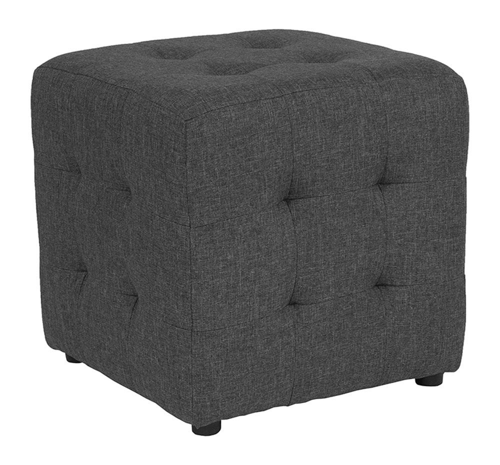 Wesley Tufted Cube Ottoman Upholstery: Dark Gray