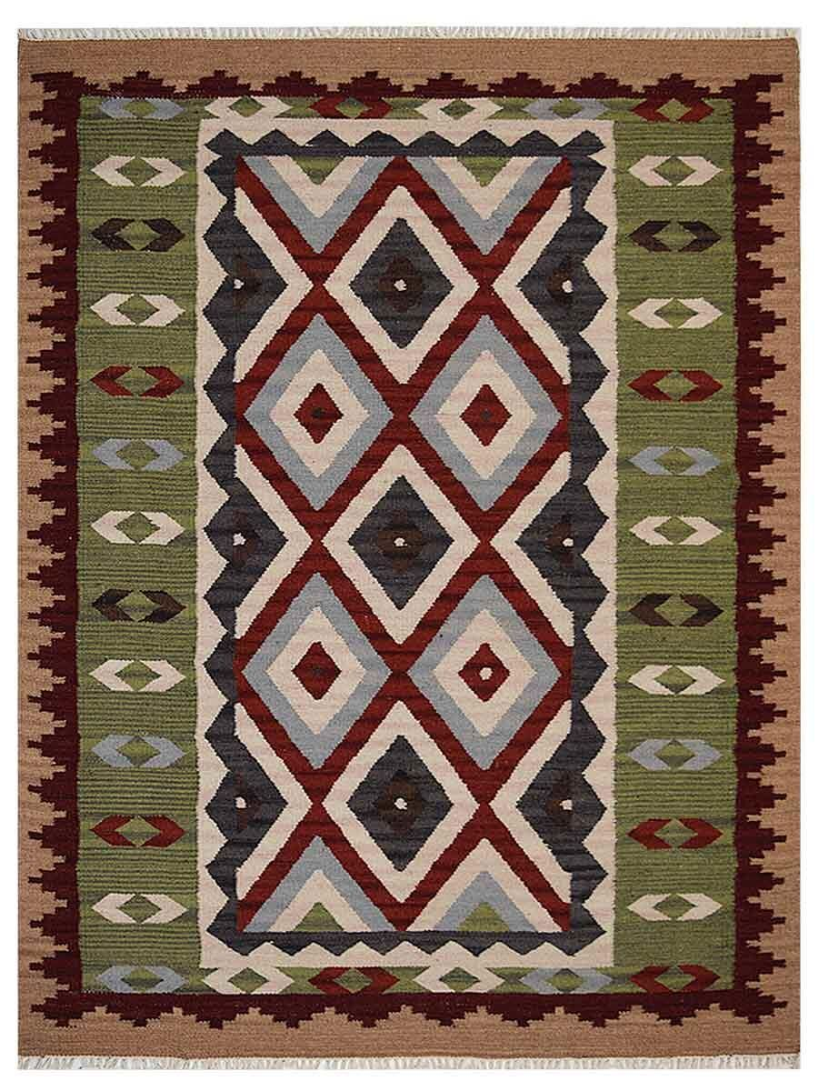 St Catherine Handmade Kilim Wool Green/Brown Area Rug Rug Size: Rectangle 5' x 8'