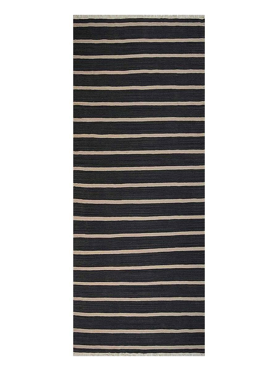 Reyes Hand-Woven Wool Black Area Rug Rug Size: Runner 2'6