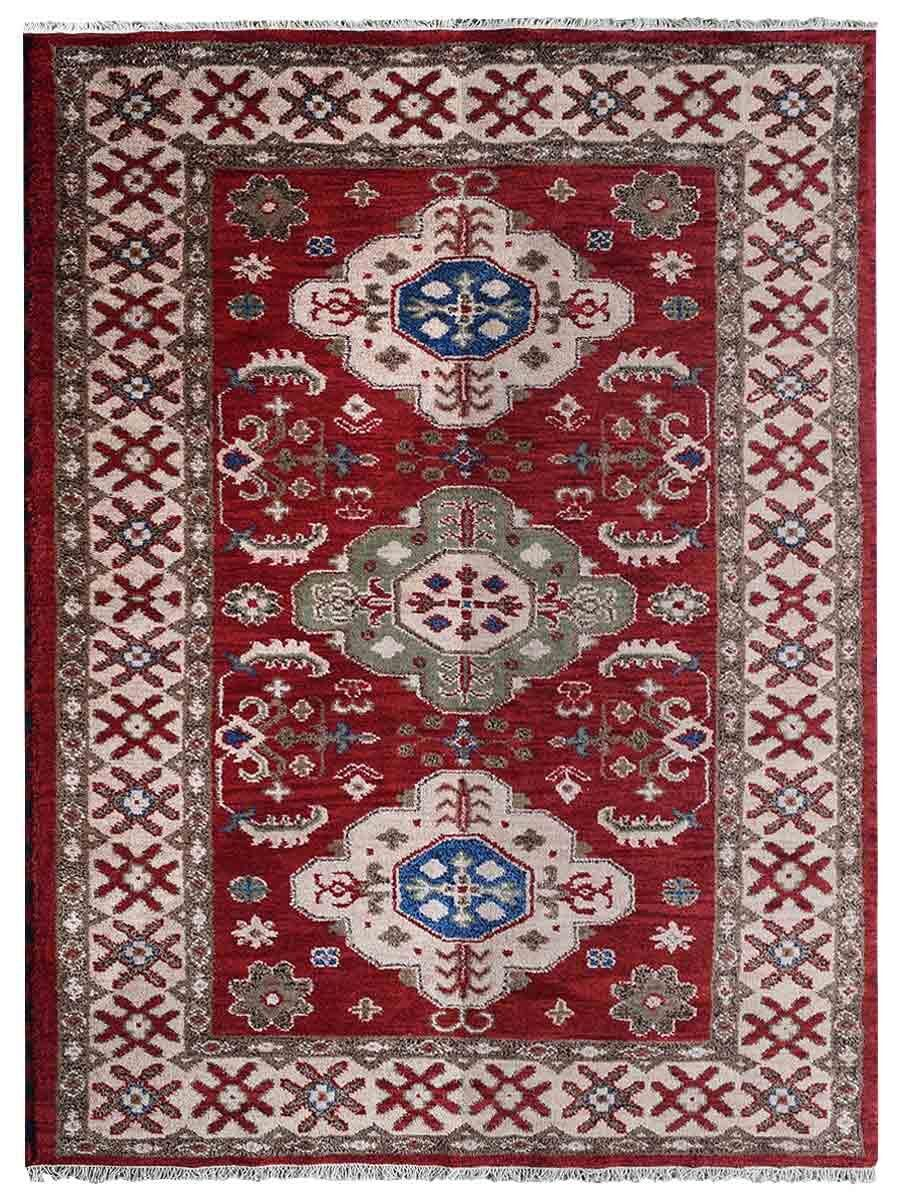 Rackers Hand-Knotted Red/Cream Area Rug Rug Size: Rectangle 5' x 8'