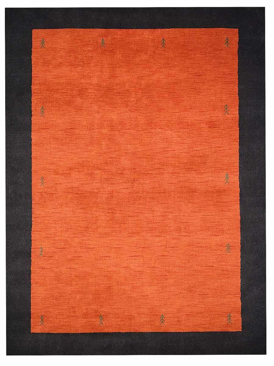 St Catherine Hand-Knotted Wool Orange/Black Area Rug