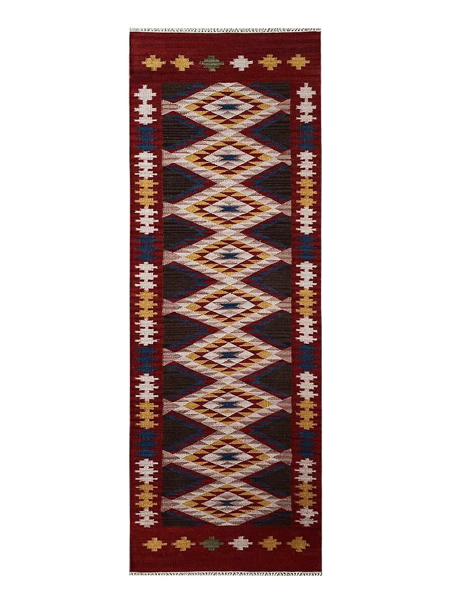 St Catherine Handmade Kilim Wool Red/Beige Area Rug Rug Size: Runner 3' x 13'