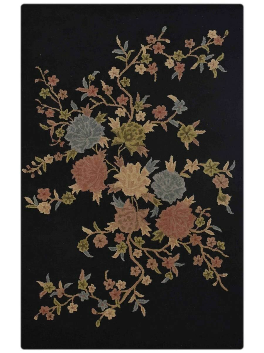 Rackers Hand-Tufted Wool Black/Yellow Area Rug