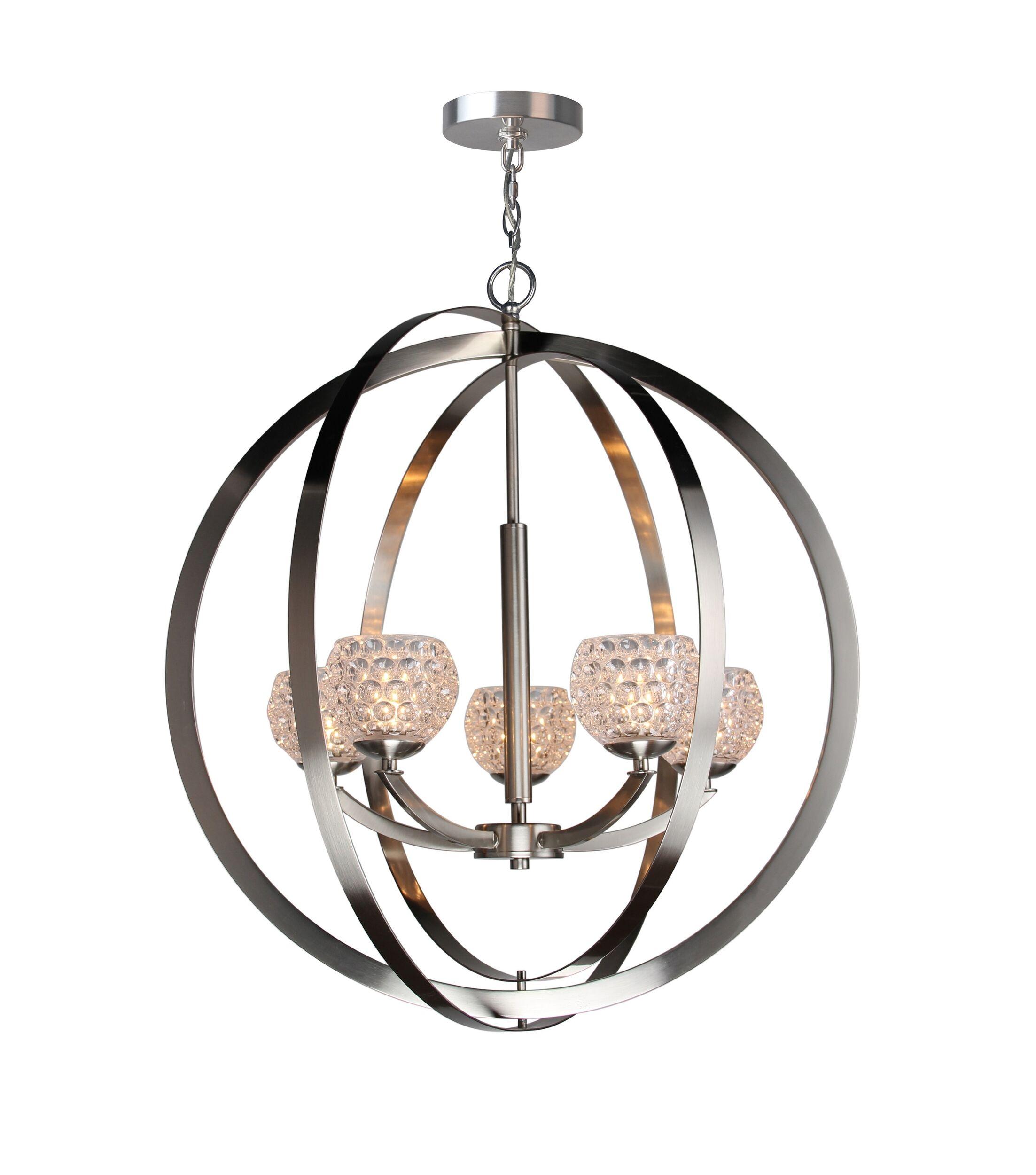 Heavner 5-Light Globe Pendant Shade Color: Clear, Finish: Satin Nickel