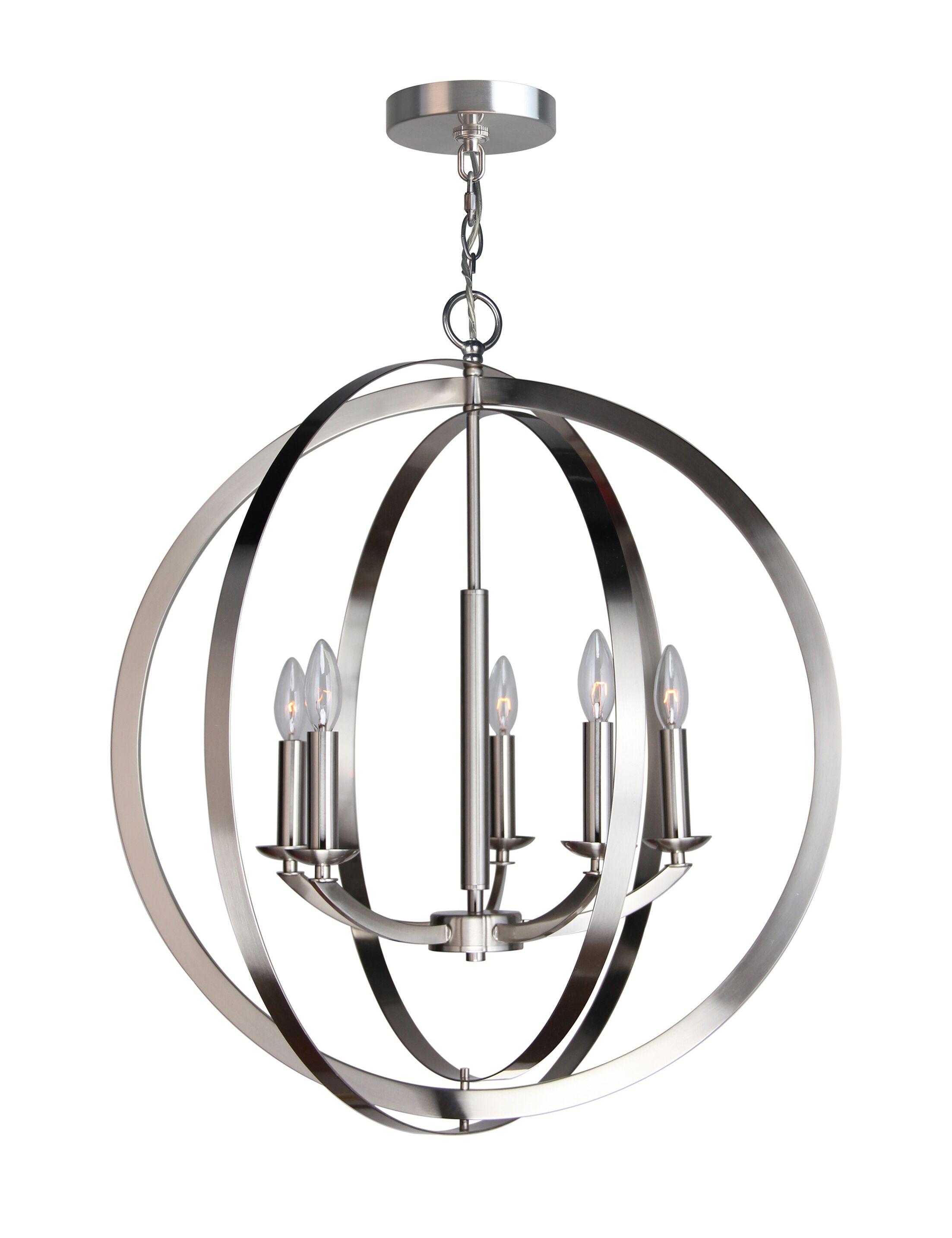 Dearmond 5-Light Globe Pendant Finish: Satin Nickel