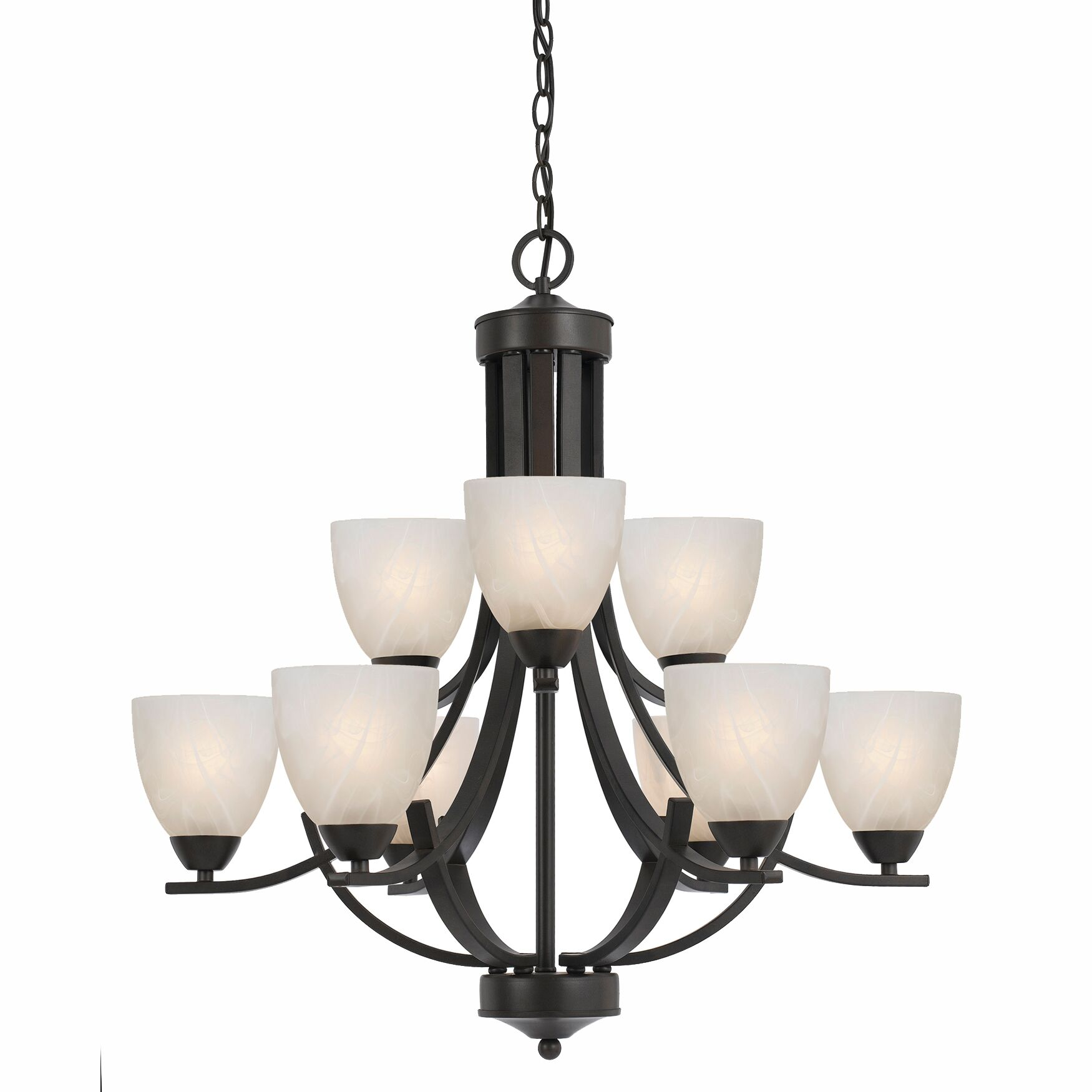 Gorrell 9-Light Shaded Chandelier Base Finish: Bronze, Shade Color: White Alabaster
