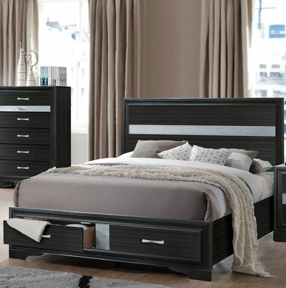 Gilliam Storage Platform Bed Color: Black, Size: King