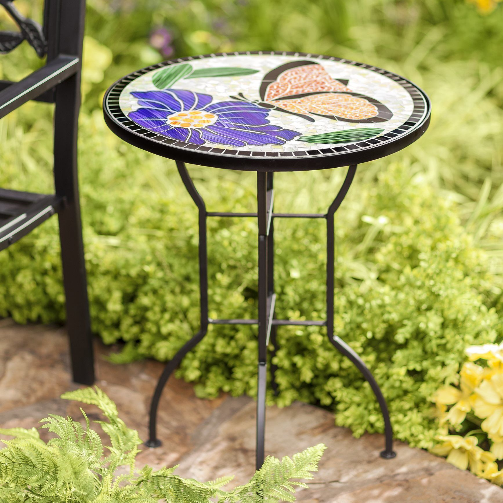 Mosaic Butterfly Metal Side Table