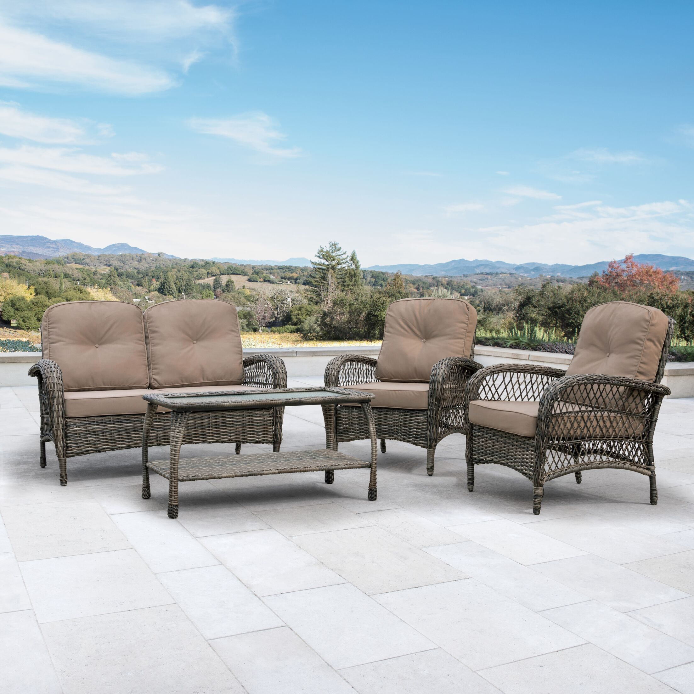 Juniper 4 Piece Rattan Sectional Seating Group with Cushions Cushion Color: Brown