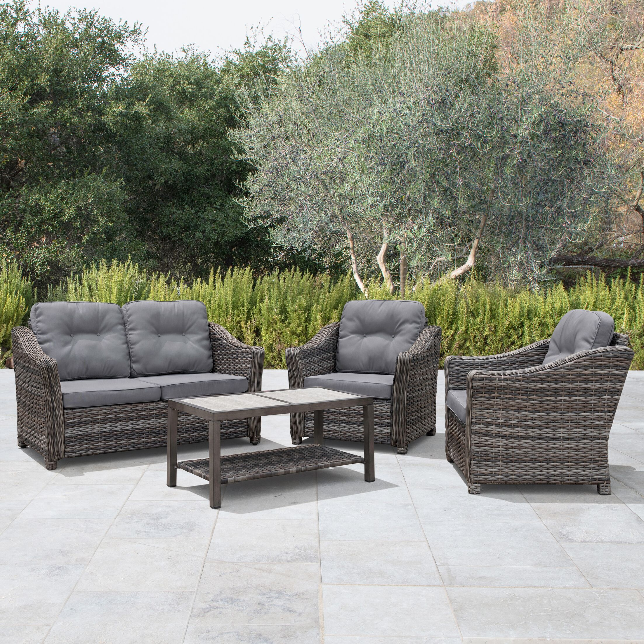 April 4 Piece Rattan Sectional Set with Cushions Cushion Color: Gray