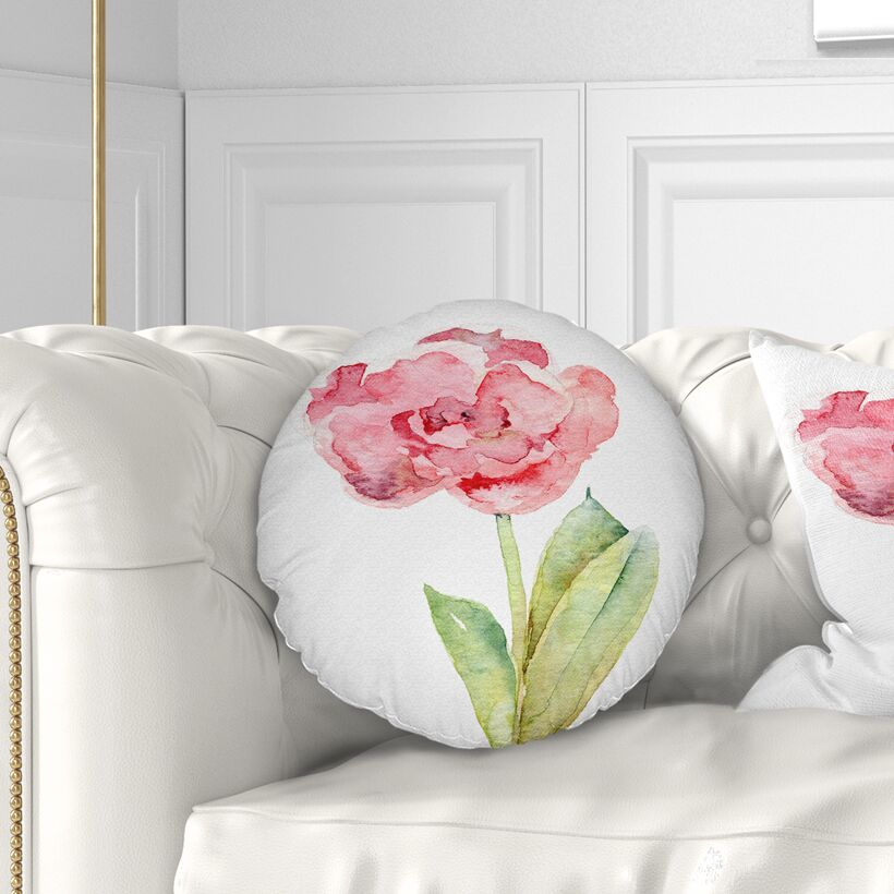 Flower Single Tulip on Background Throw Pillow Size: 20