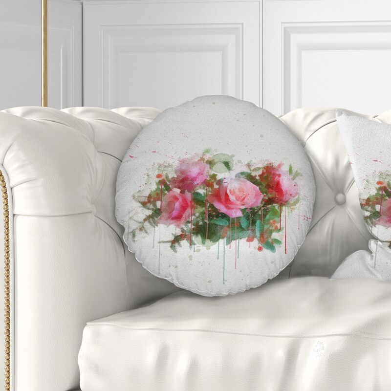 Flower Bunch of Roses Watercolor Throw Pillow Size: 16