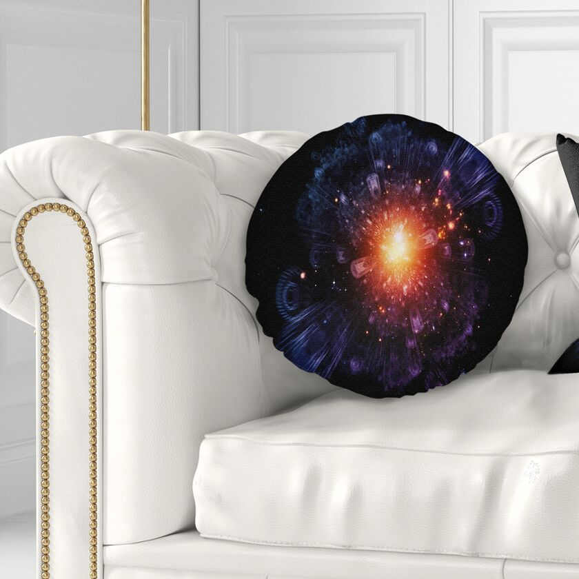 Flowerswork Abstract Fractal Gears and Lights Throw Pillow Size: 20