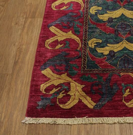 Area Rugs One Of A Kind Briana Oriental Hand Knotted Wool Green Red
