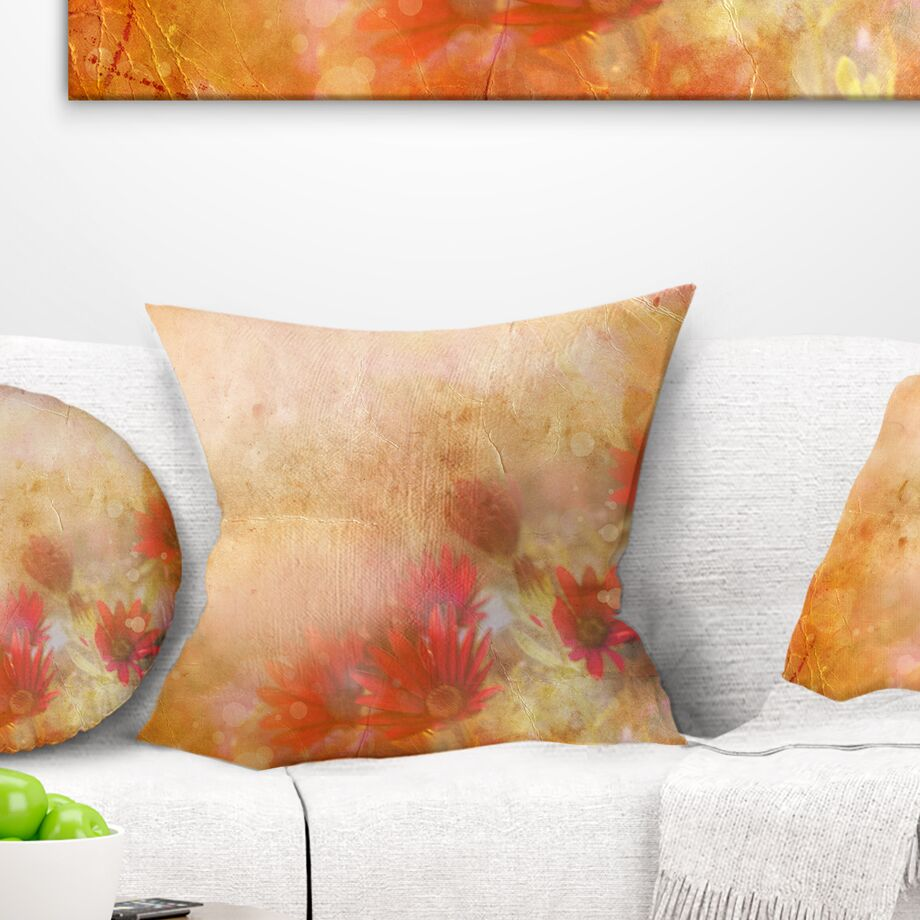 Abstract Fractal Fire Pattern Painted Pillow Size: 26