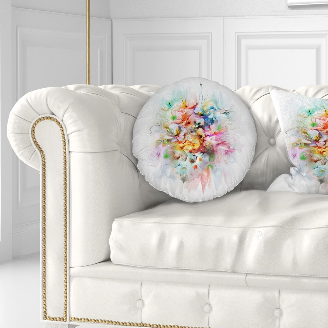 Floral Bunch of Watercolor Flowers Throw Pillow Size: 20