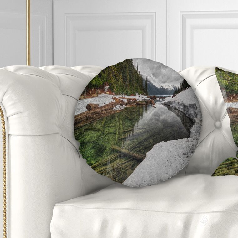 Landscape Crystal Clear Lake with Pine Trees Throw Pillow Size: 20