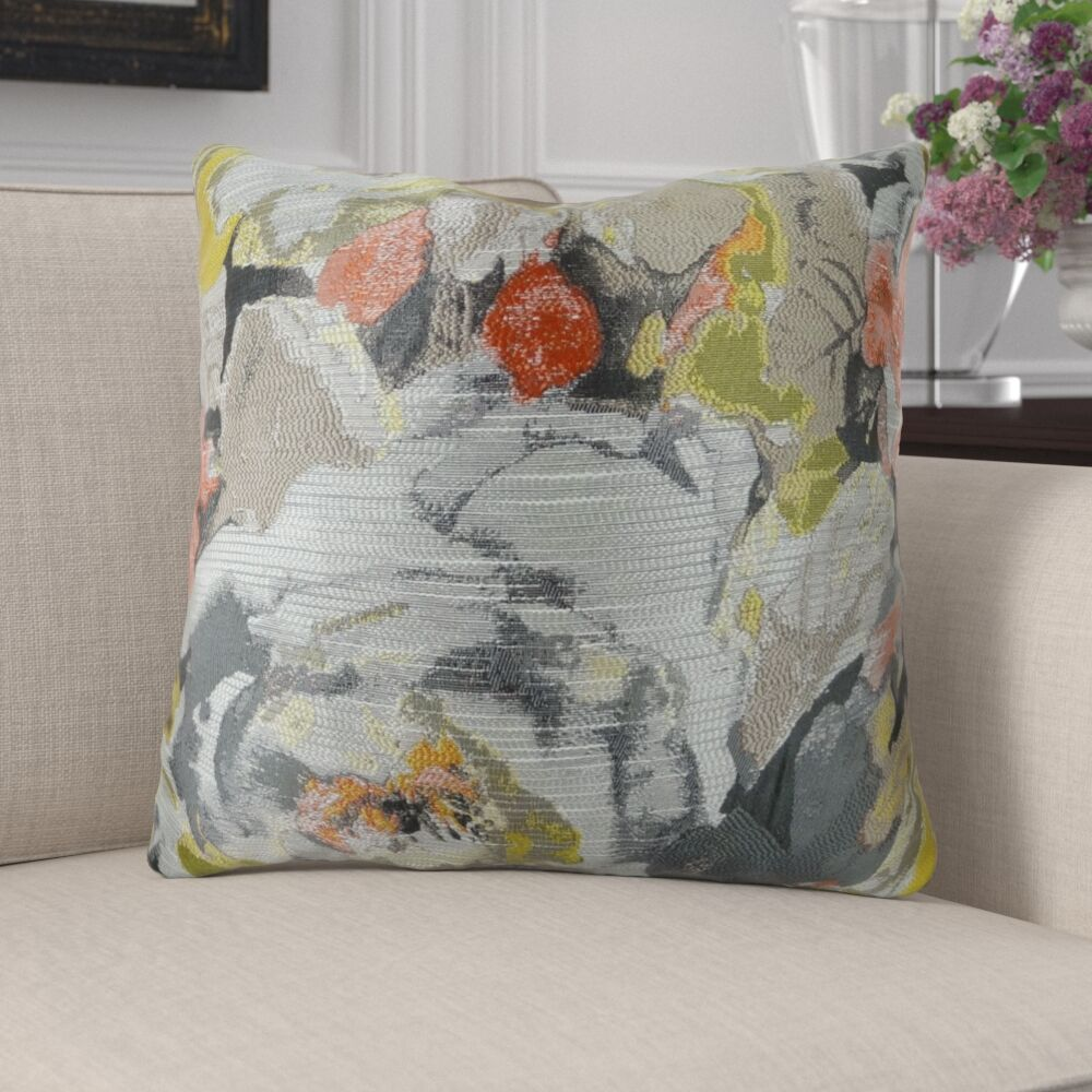 Edmonds Floral Greige Luxury Pillow Fill Material: Cover Only - No Insert, Size: 26