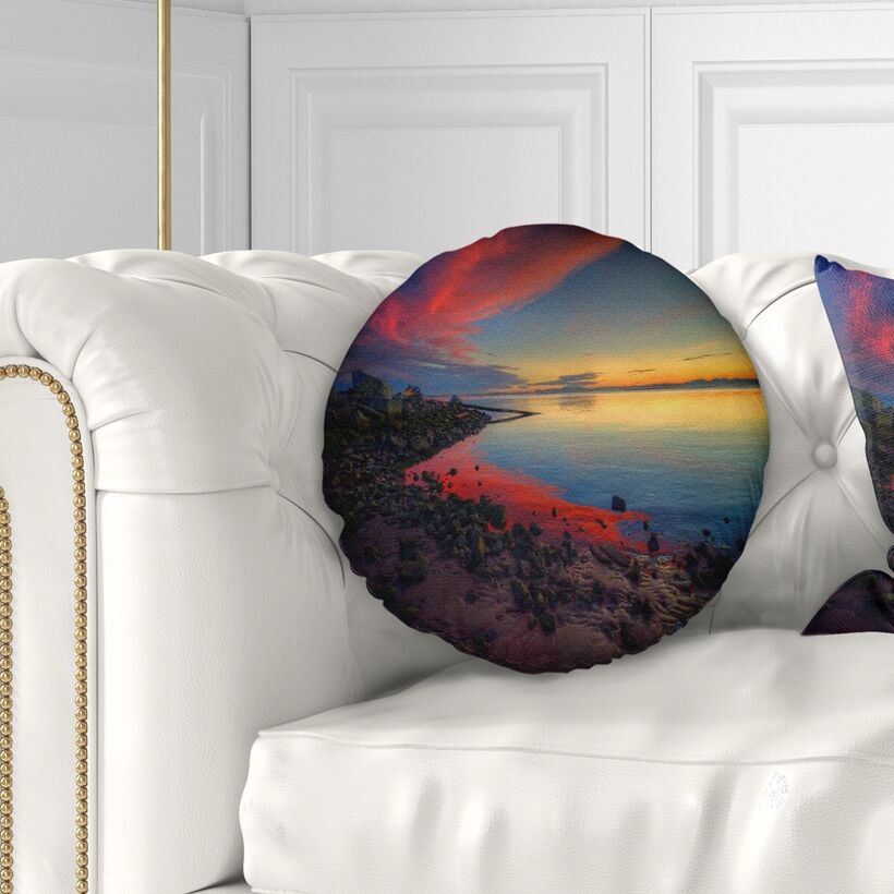 Seashore Blasts of Color at the Sunset Throw Pillow Size: 16