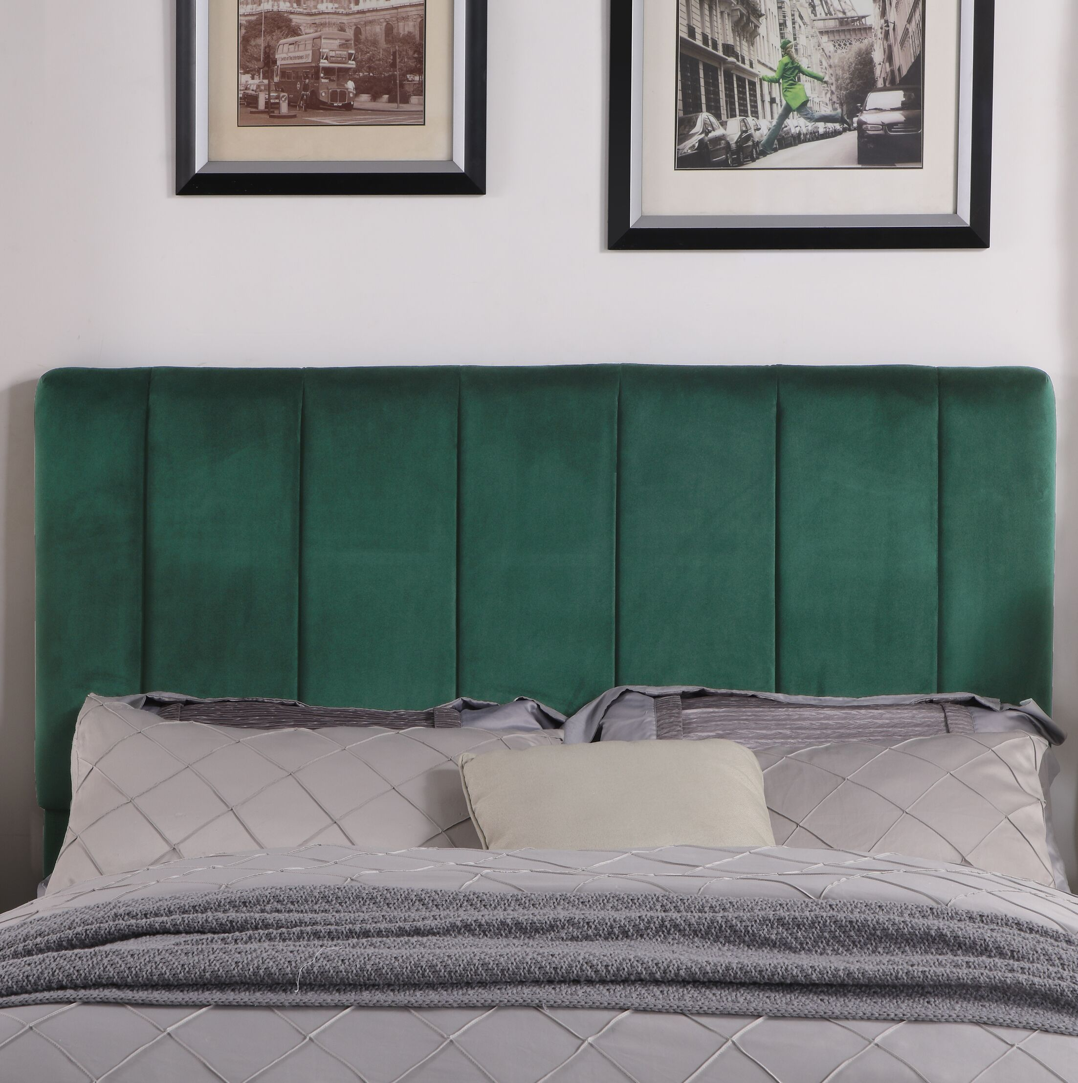 Kurth Upholstered Panel Headboard Upholstery: Green, Size: Twin