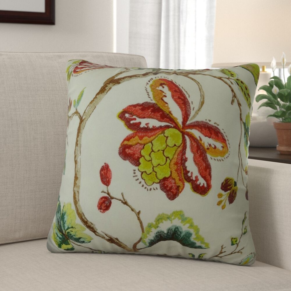 Dennett Floral Embroide Pillow Size: 12